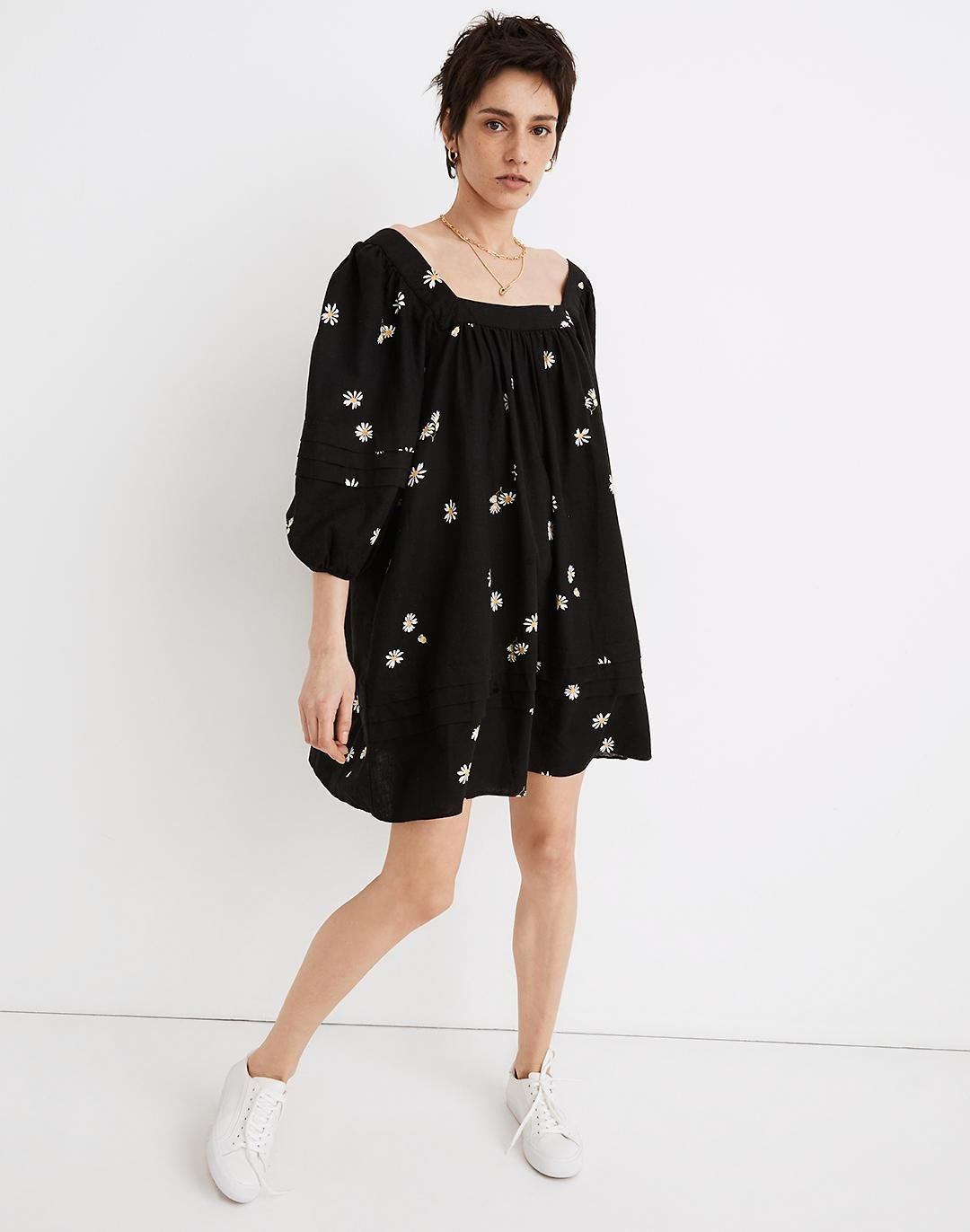 Square-Neck Pleat-Detail Mini Dress in Lazy Daisies
