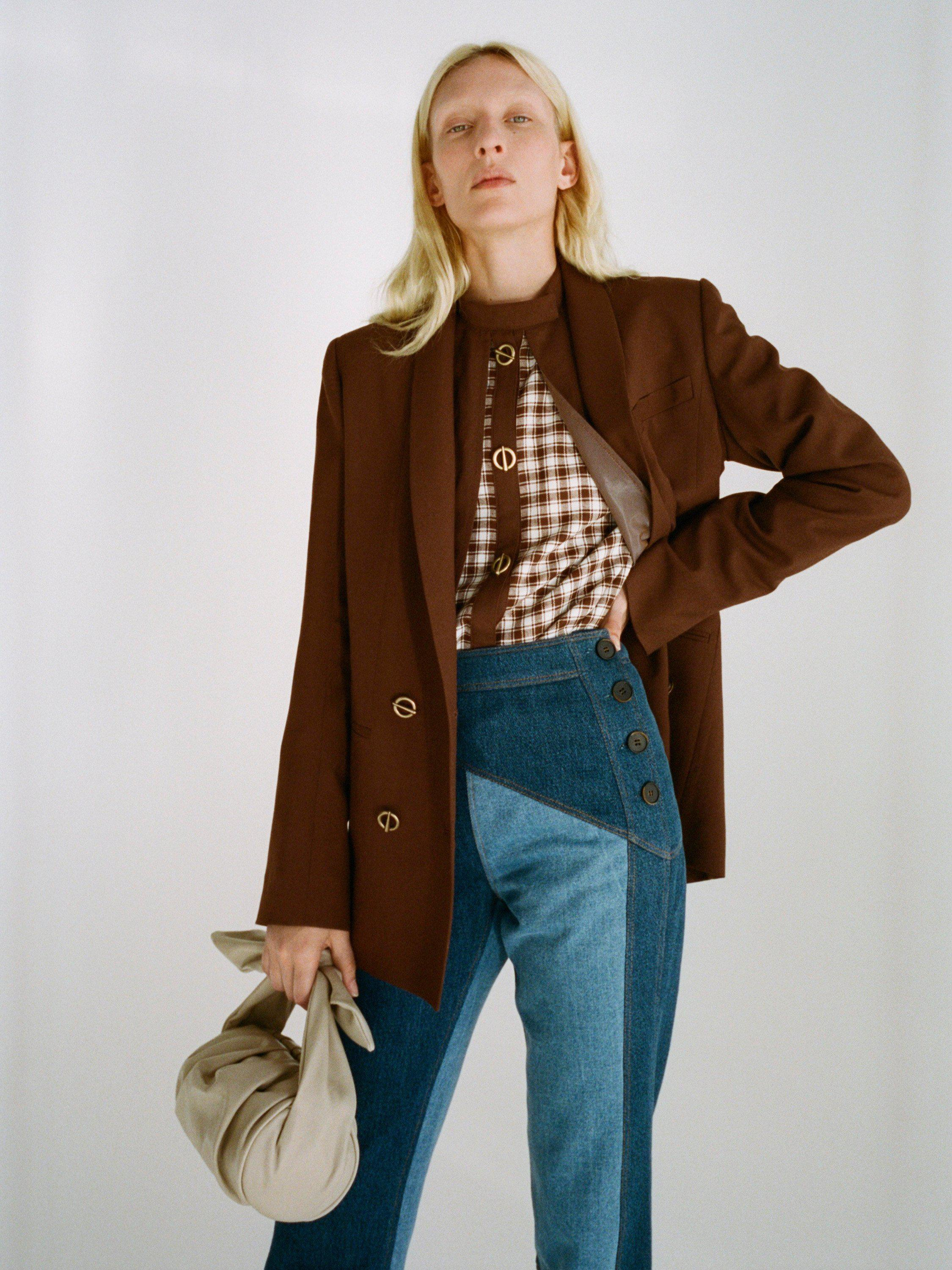 Andrea Shirt Japanese Wool Suiting Rust Brown and Check Brown Mix