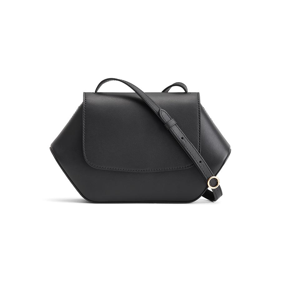 Women's Mini Hexagon Crossbody Bag in Black | Smooth Leather by Cuyana
