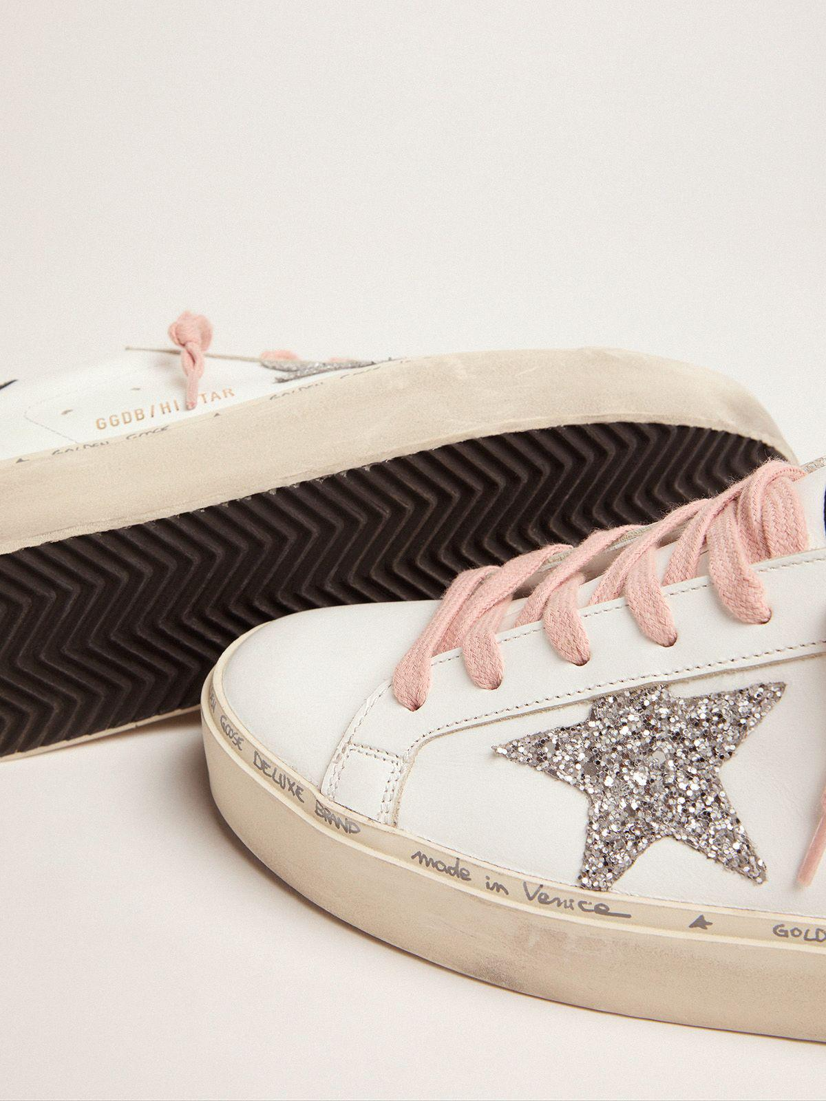 White Hi-Star sneakers with glittery star and pink laces 2