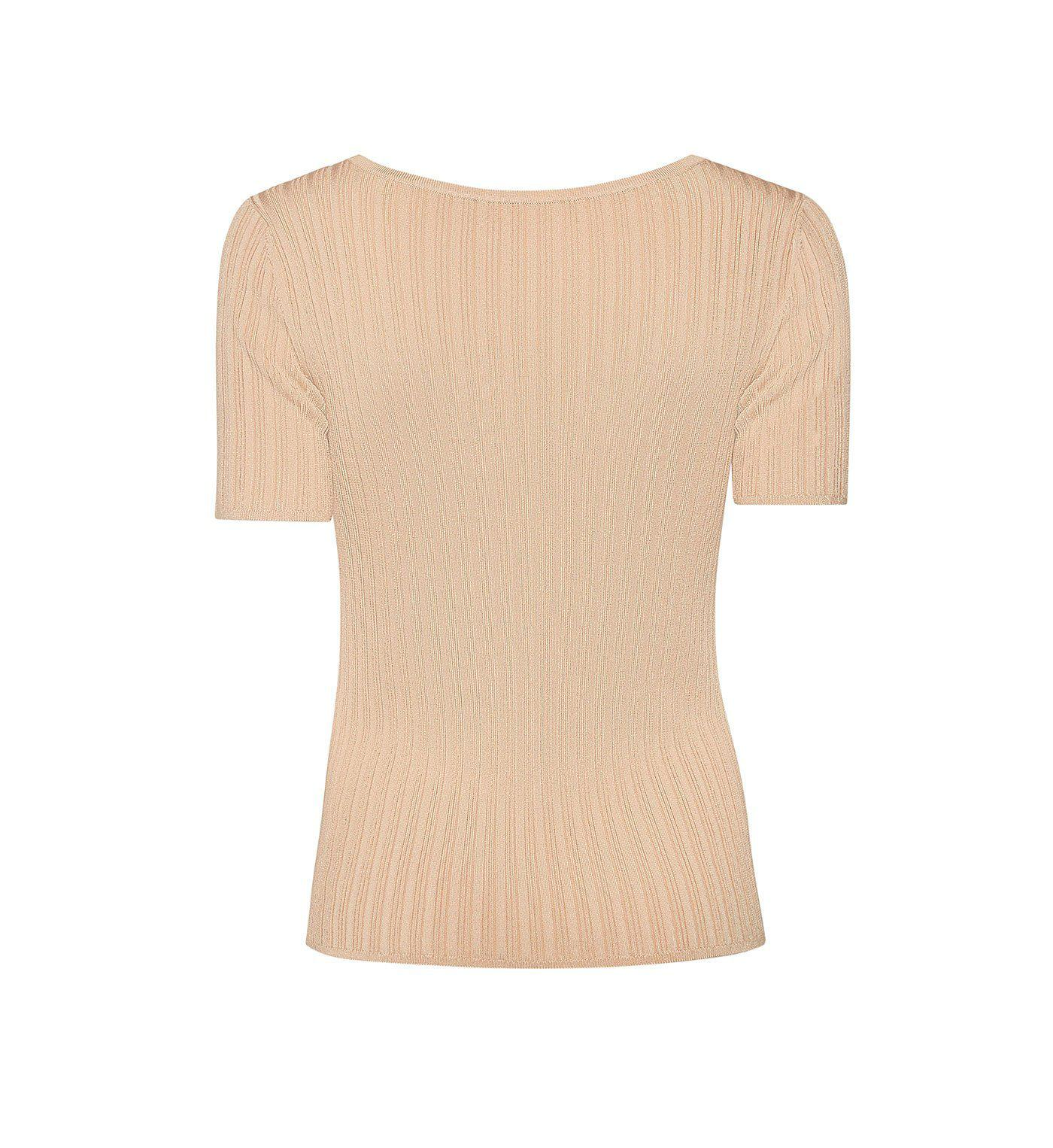 RIBBED KNIT SCOOP NECK TEE 1