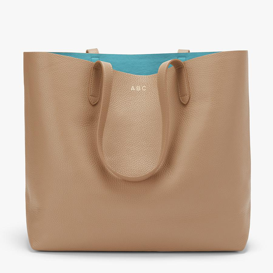 Women's Classic Structured Leather Tote Bag in Cappuccino/Blue | Pebbled Leather by Cuyana 6