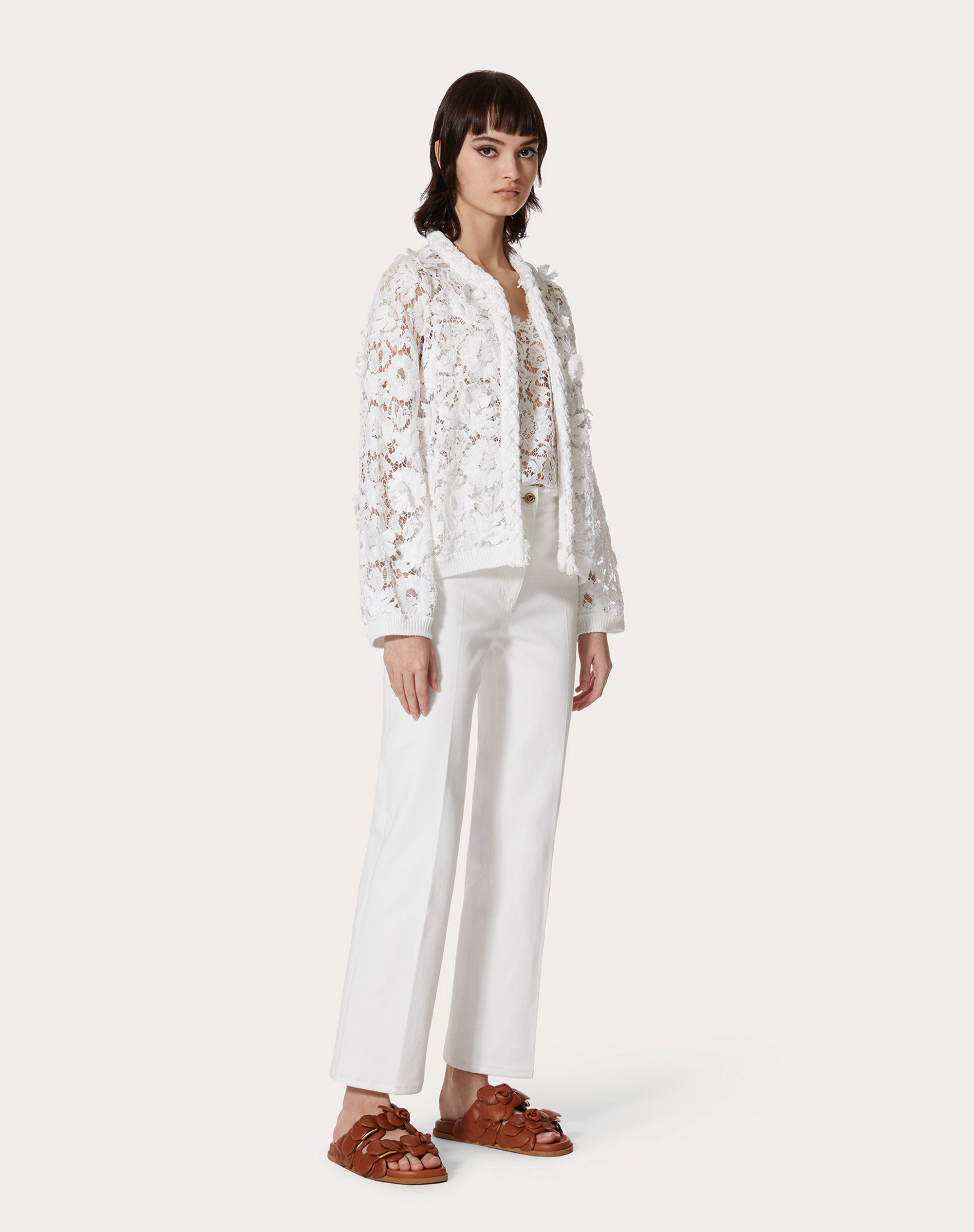CARDIGAN IN COTTON AND EMBROIDERED LACE