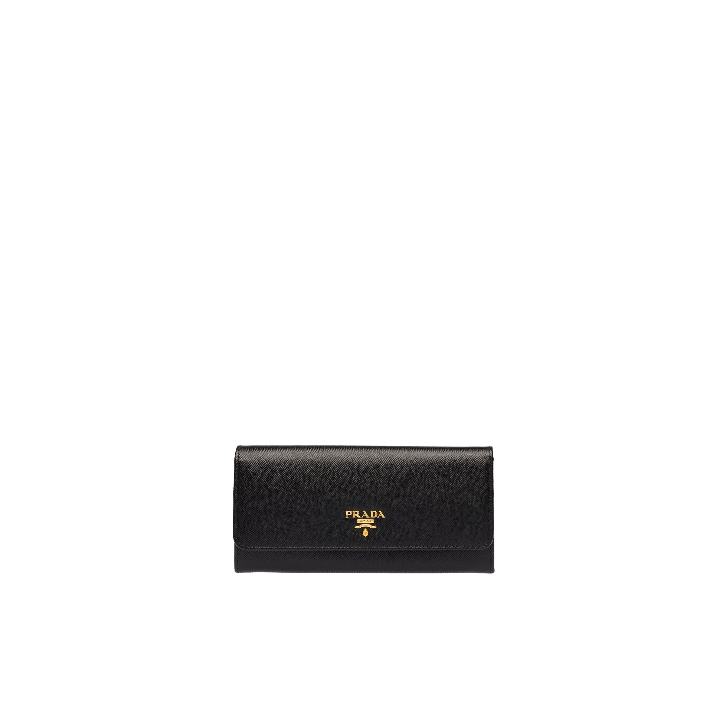 Large Saffiano Leather Wallet Women Black/hibiscus