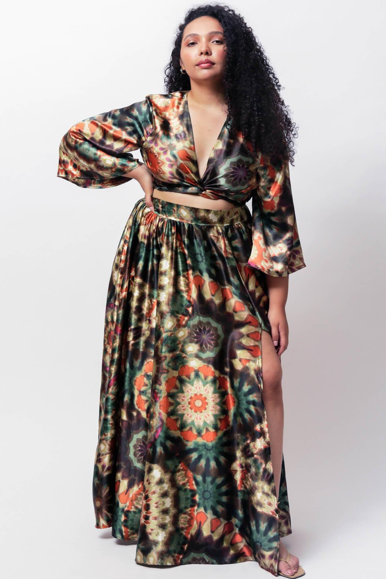 Amiyah Wrap Crop Top and Maxi Swing Skirt Two Piece Set