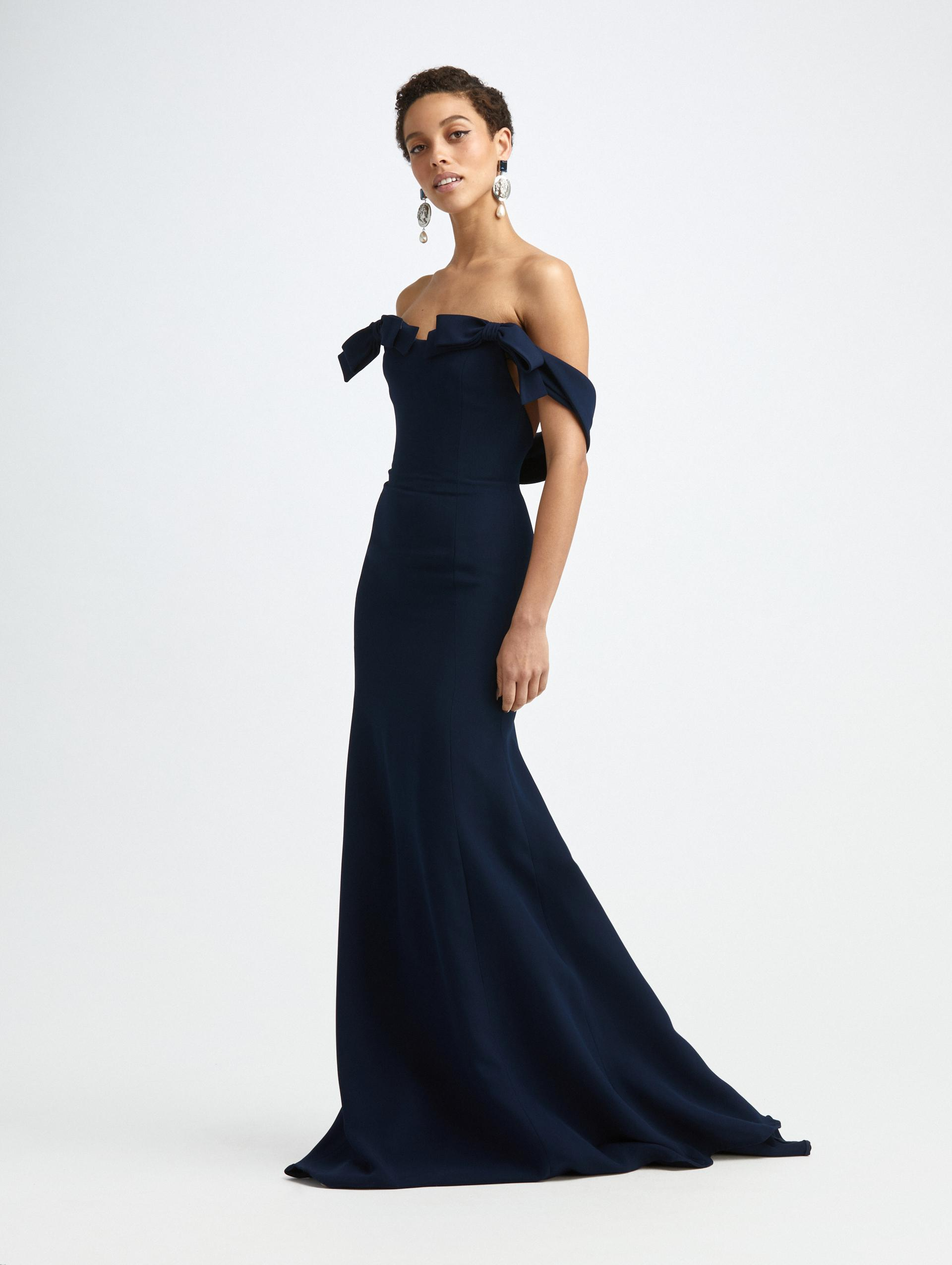 CADY OFF SHOULDER BOW GOWN