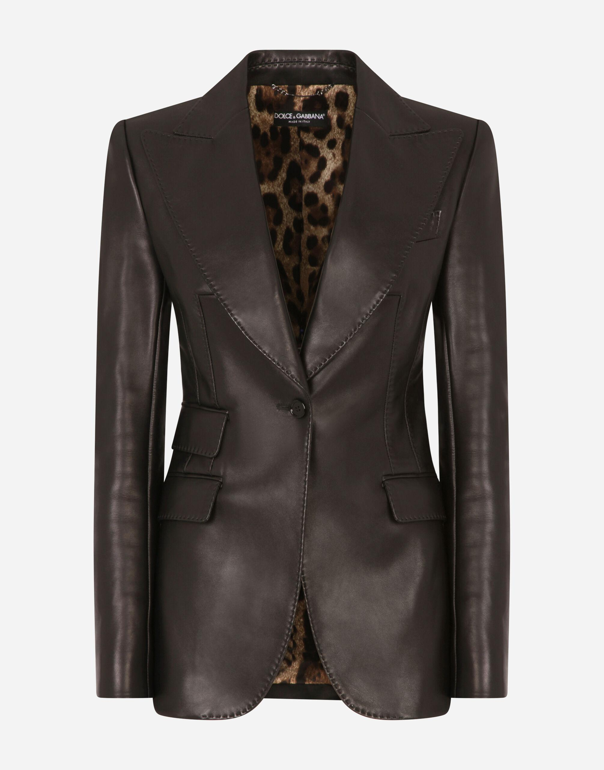 Single-breasted leather blazer 3