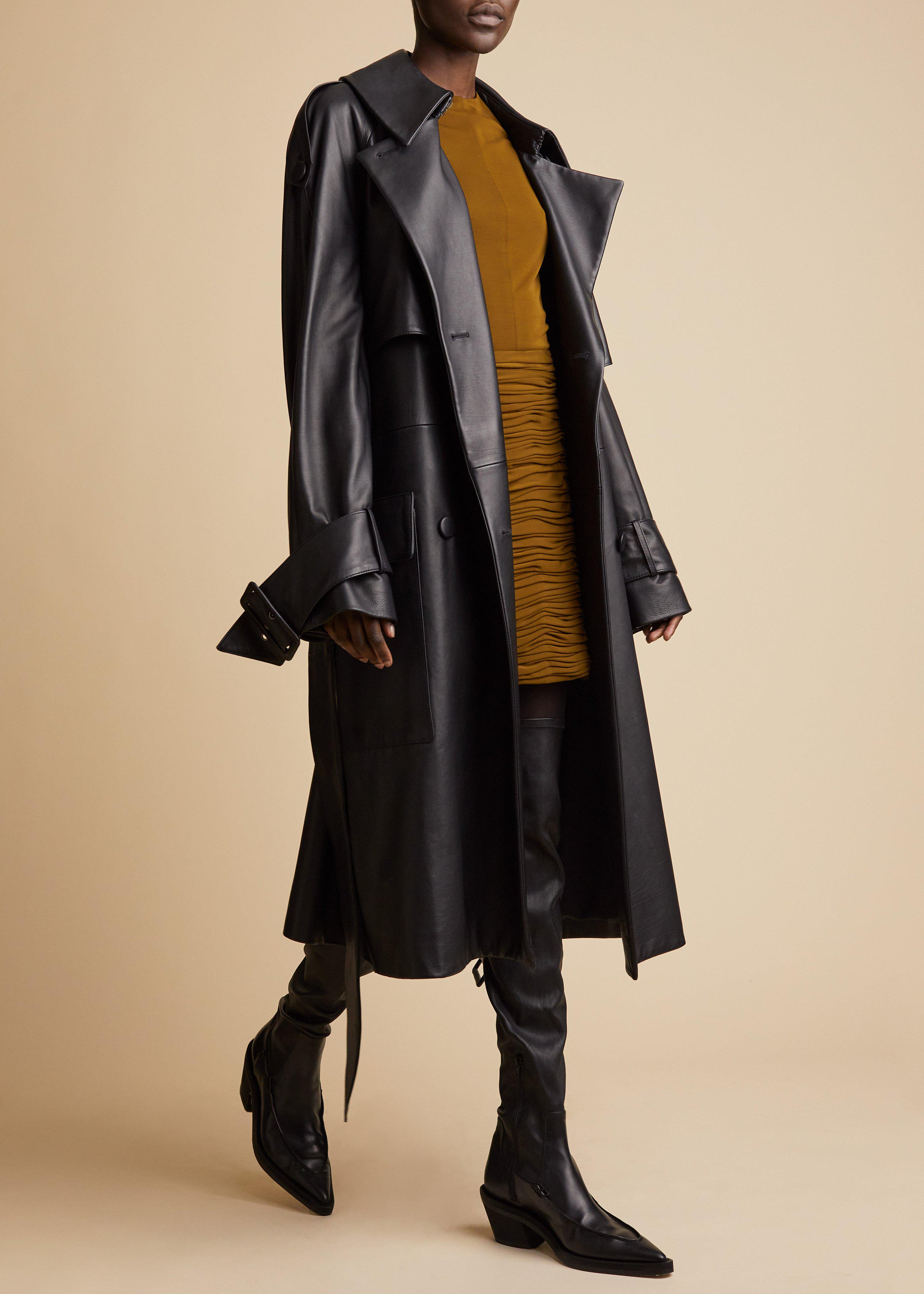 The Nedding Trench in Black Leather