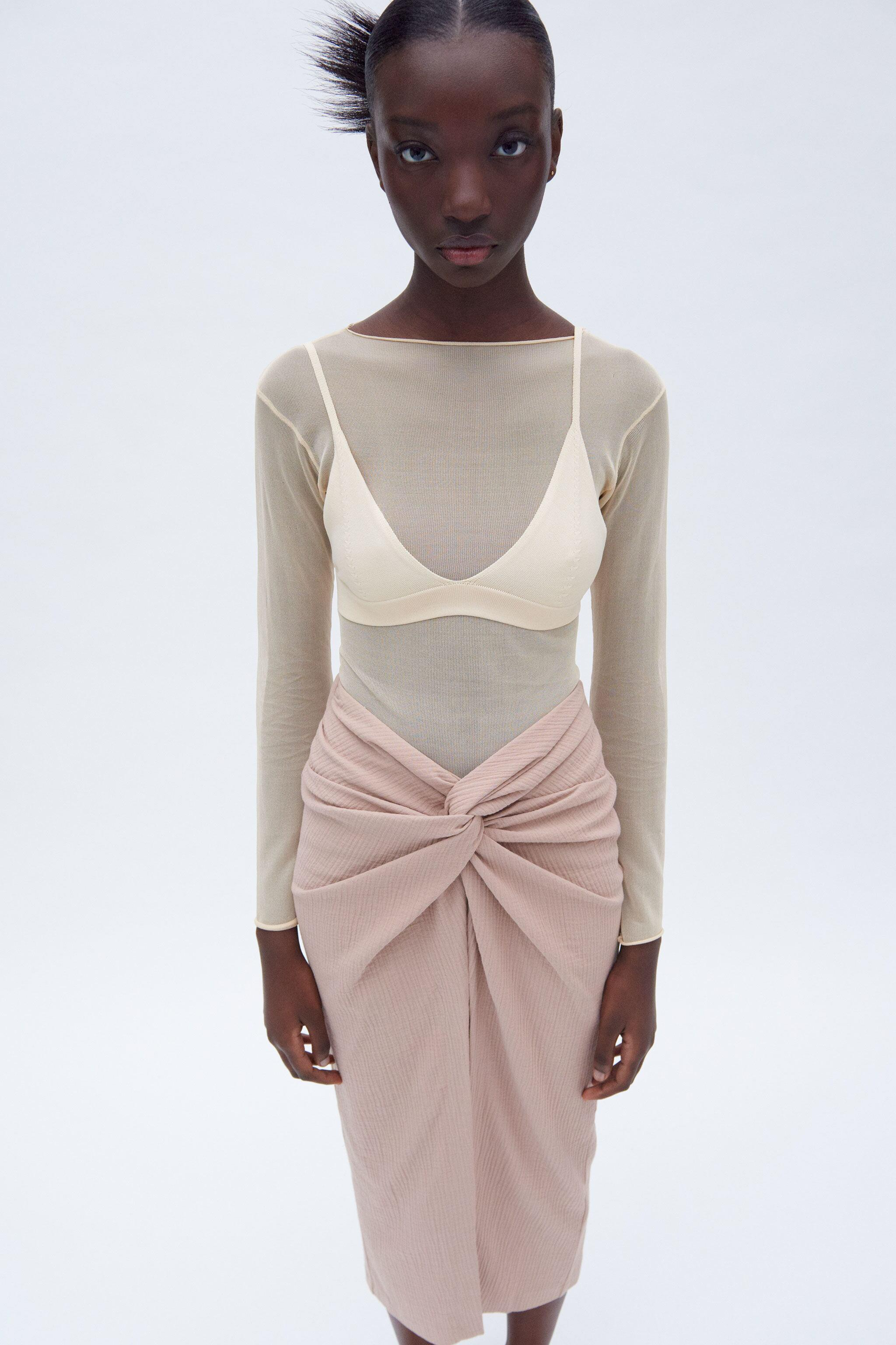 TEXTURED KNOTTED MIDI SKIRT