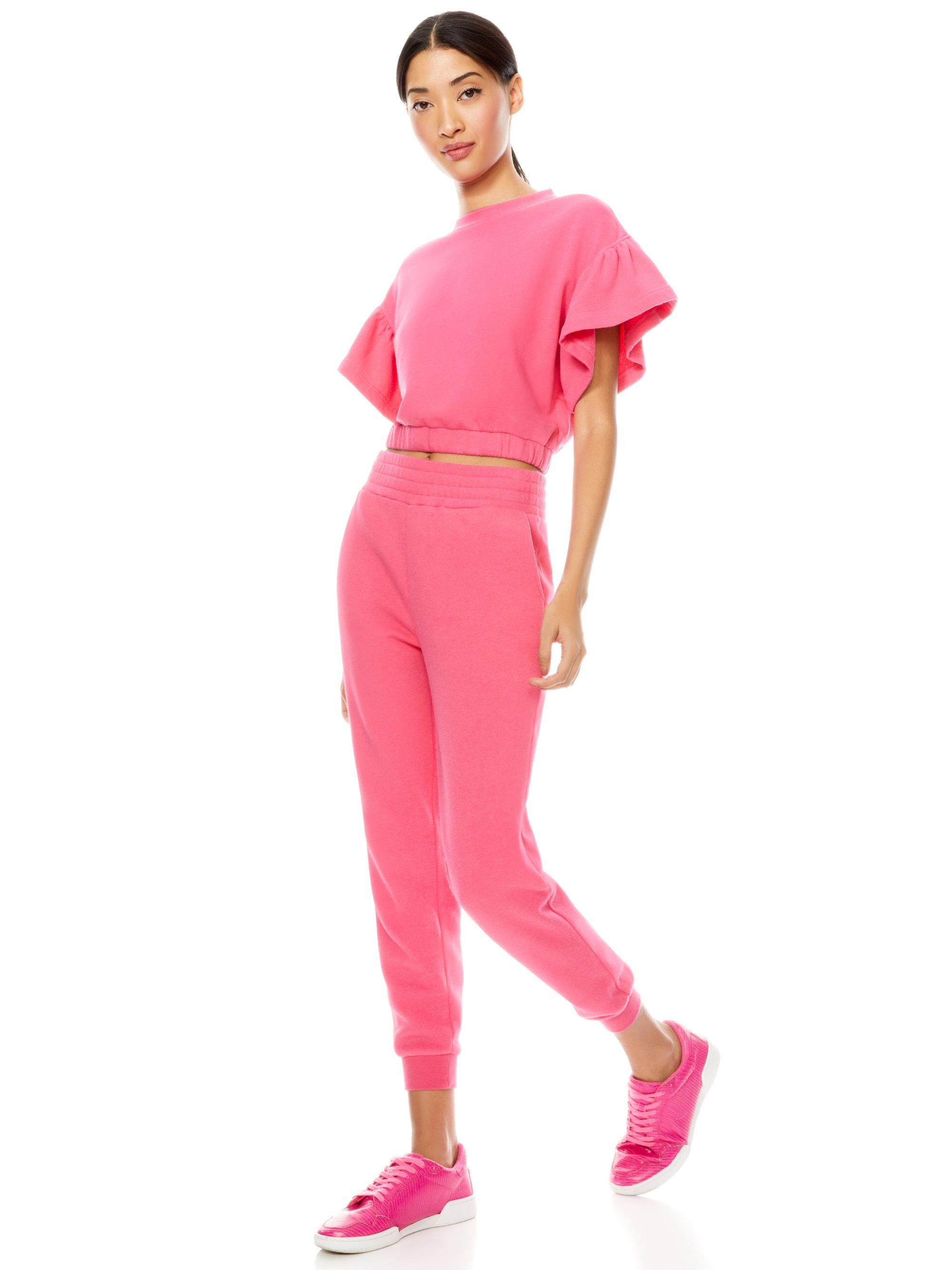 JOLINE RUFFLE SLEEVE CROPPED PULLOVER 3