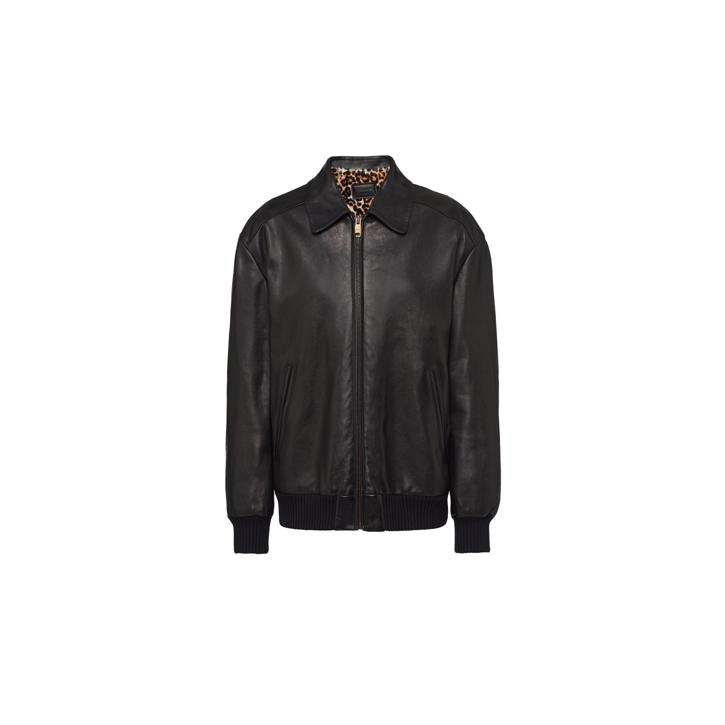 Nappa Leather And Shearling Bomber Jacket Women Black