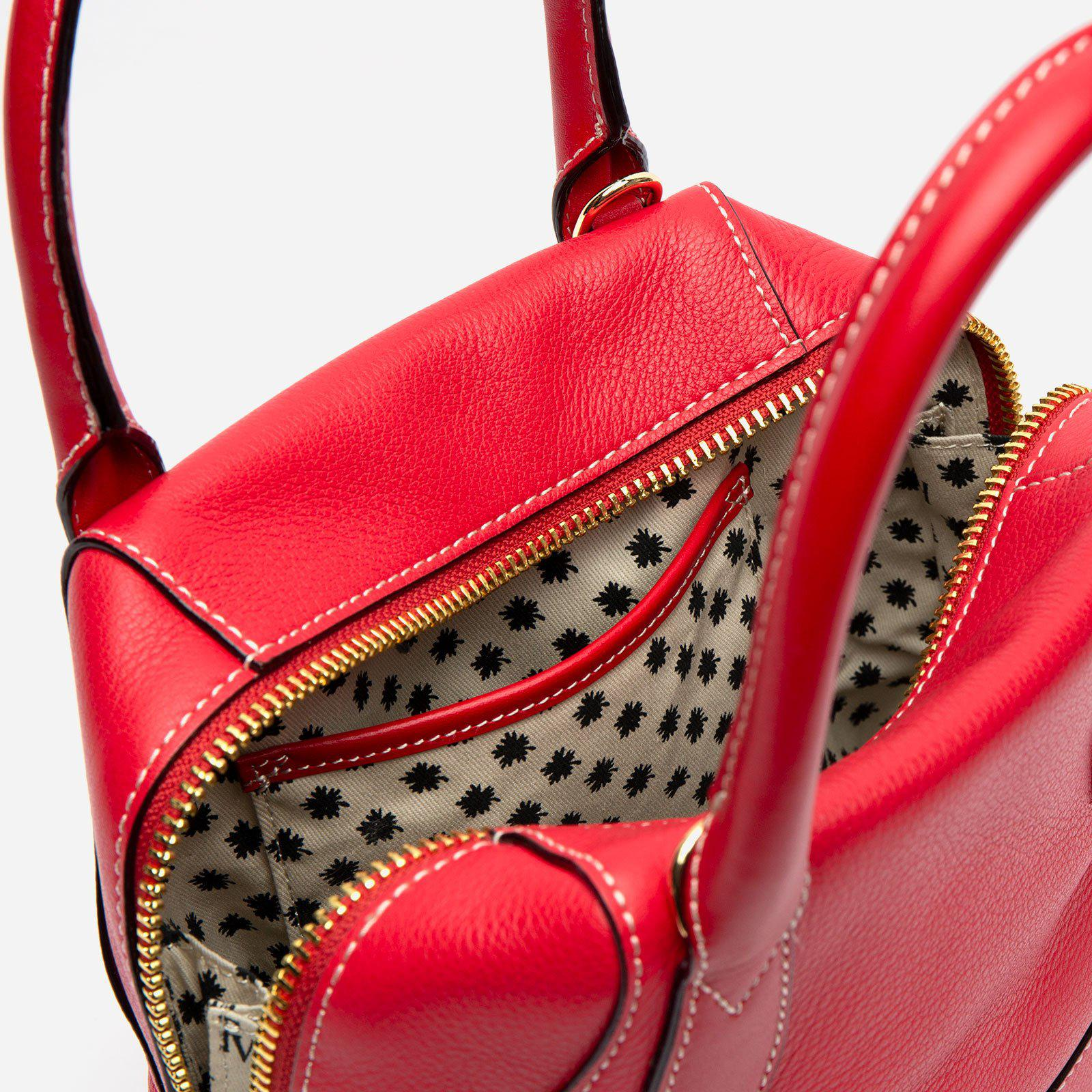 Small Abby Tote Tumbled Leather Red 5
