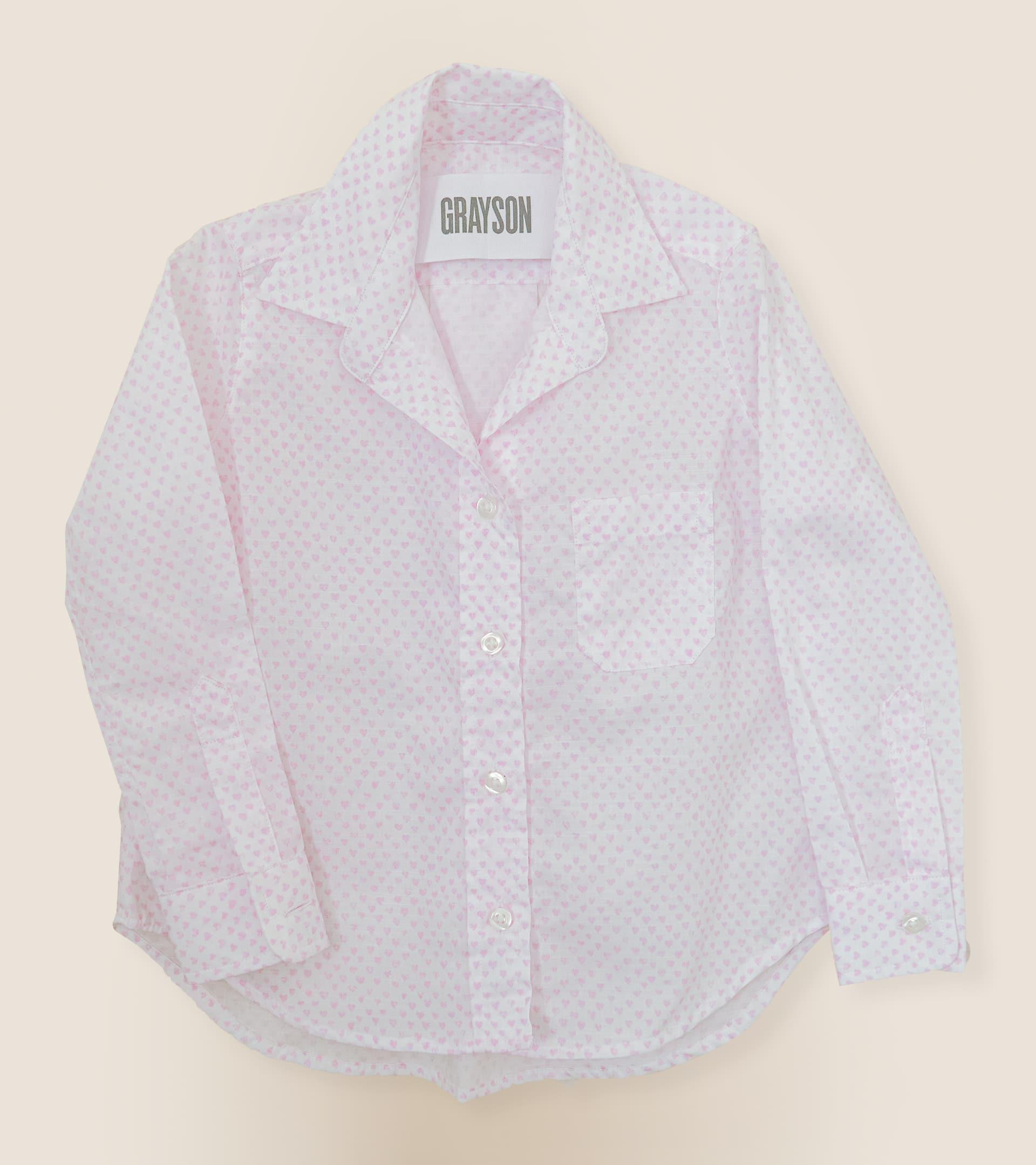 The Hero Mini Pink Hearts, Washed Cotton