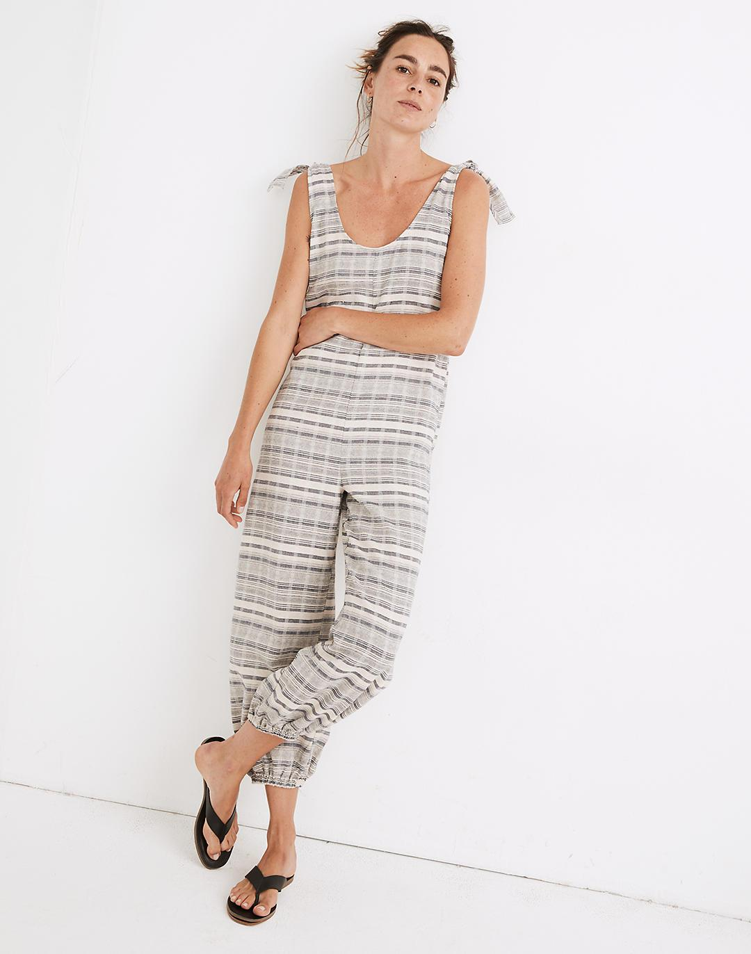 Tie-Strap Balloon Cover-Up Jumpsuit in Stripe