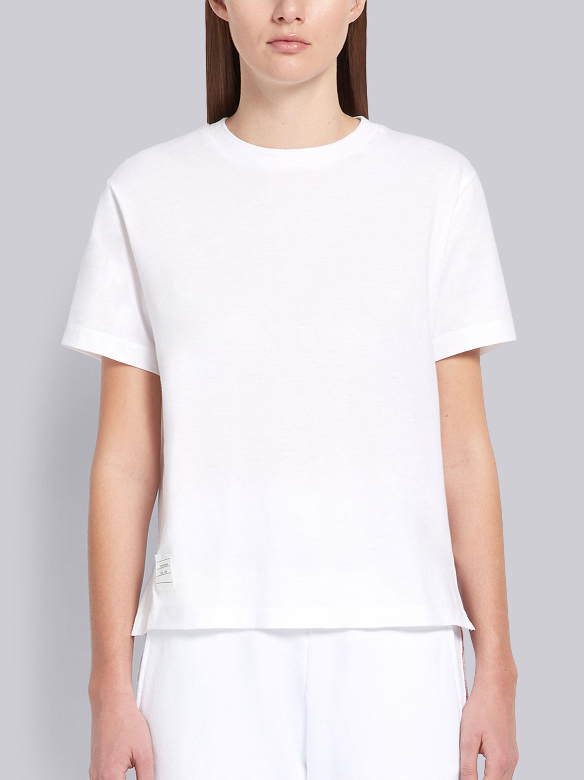 White Lightweight Jersey Relaxed Fit Side Slit Short Sleeve Tee