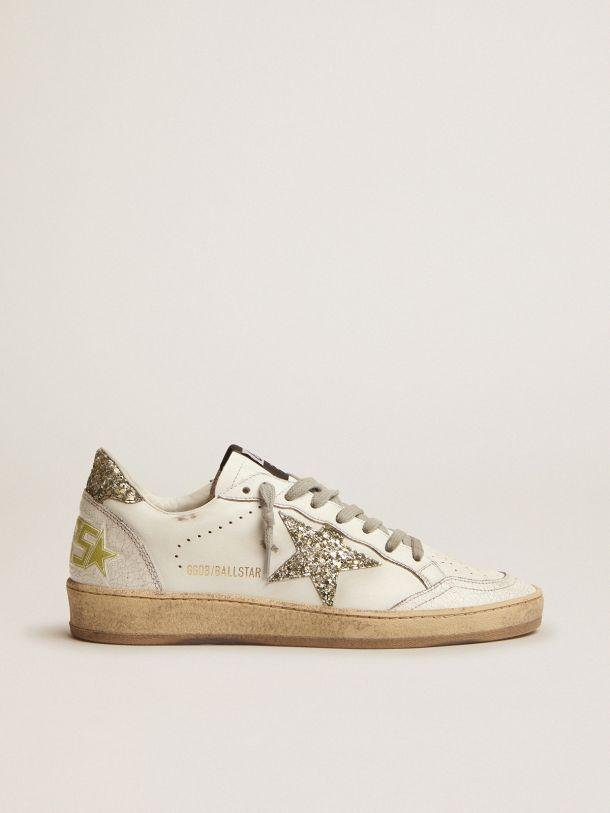 Ball Star LTD sneakers in white leather with light green glitter