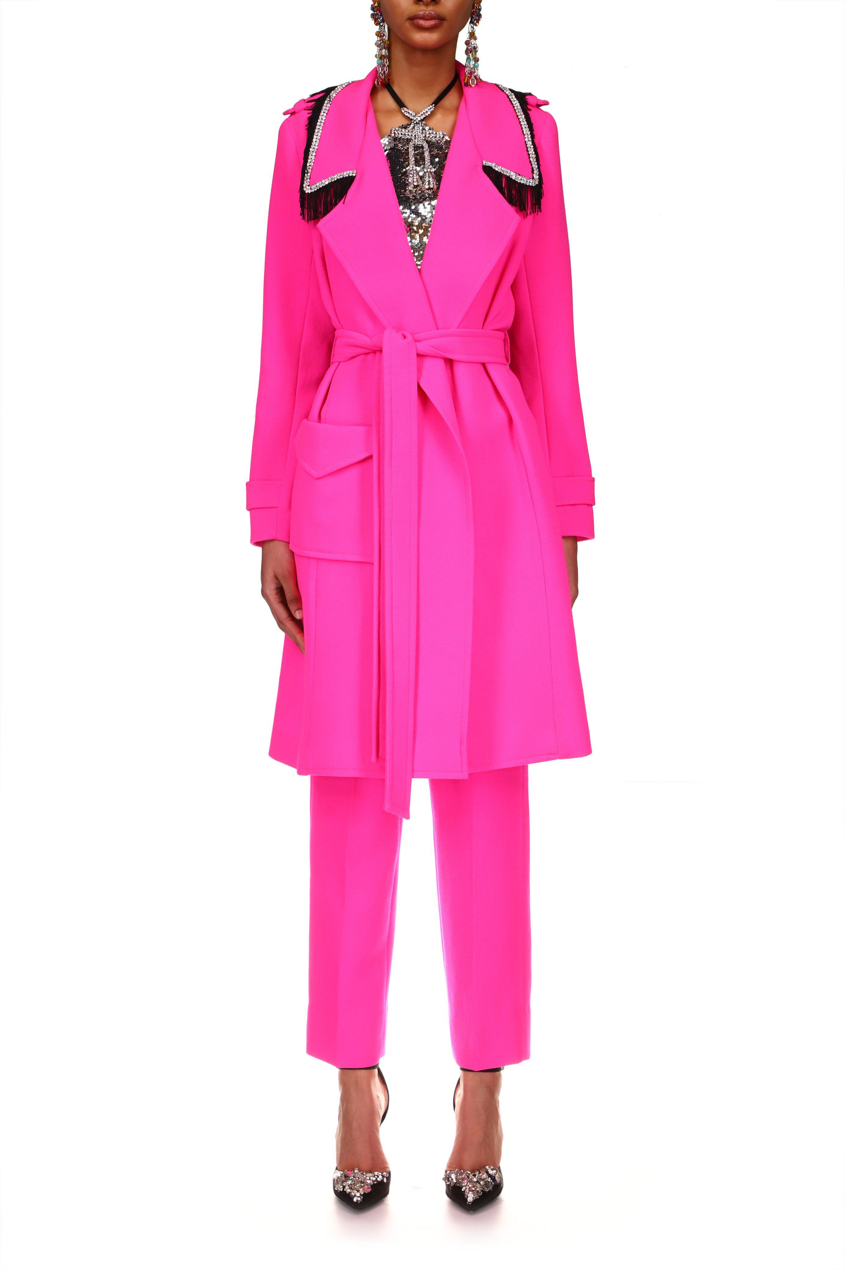 NEON PINK WOOL TRENCH COAT WITH RHINESTONE AND FRINGE DETAIL