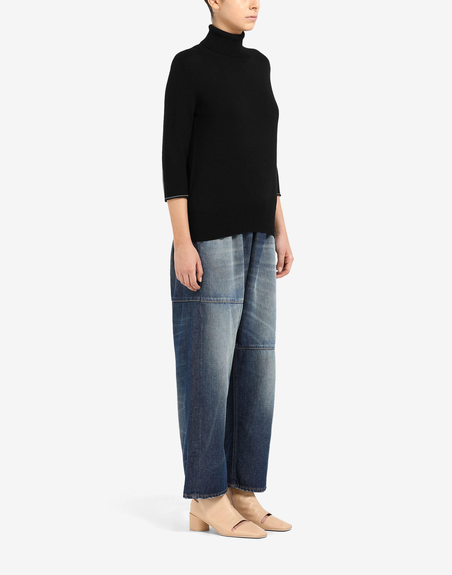 Cropped elbow patch sweater 1