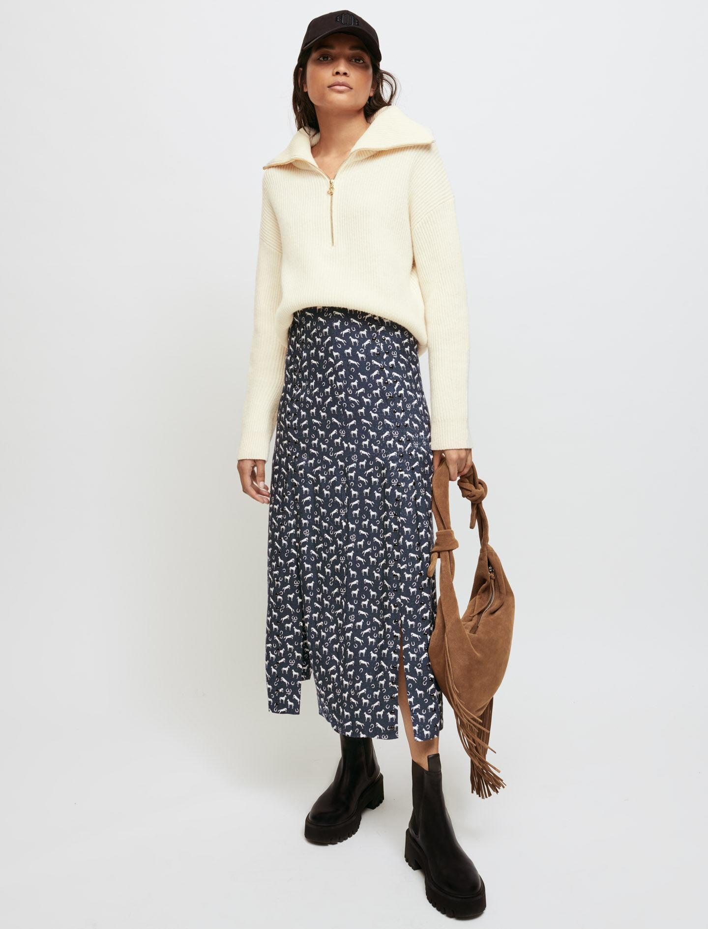 HORSE PRINT JACQUARD SKIRT WITH STUDS 0