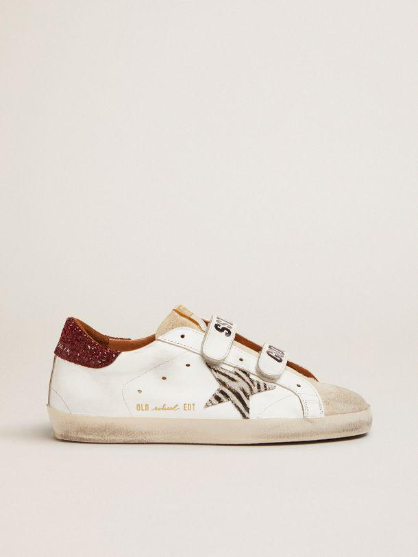 Old School sneakers with zebra-print pony skin star and red glitter heel tab