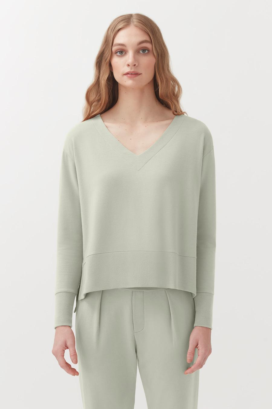 Women's French Terry V-Neck Sweatshirt in Sage | Size: 1