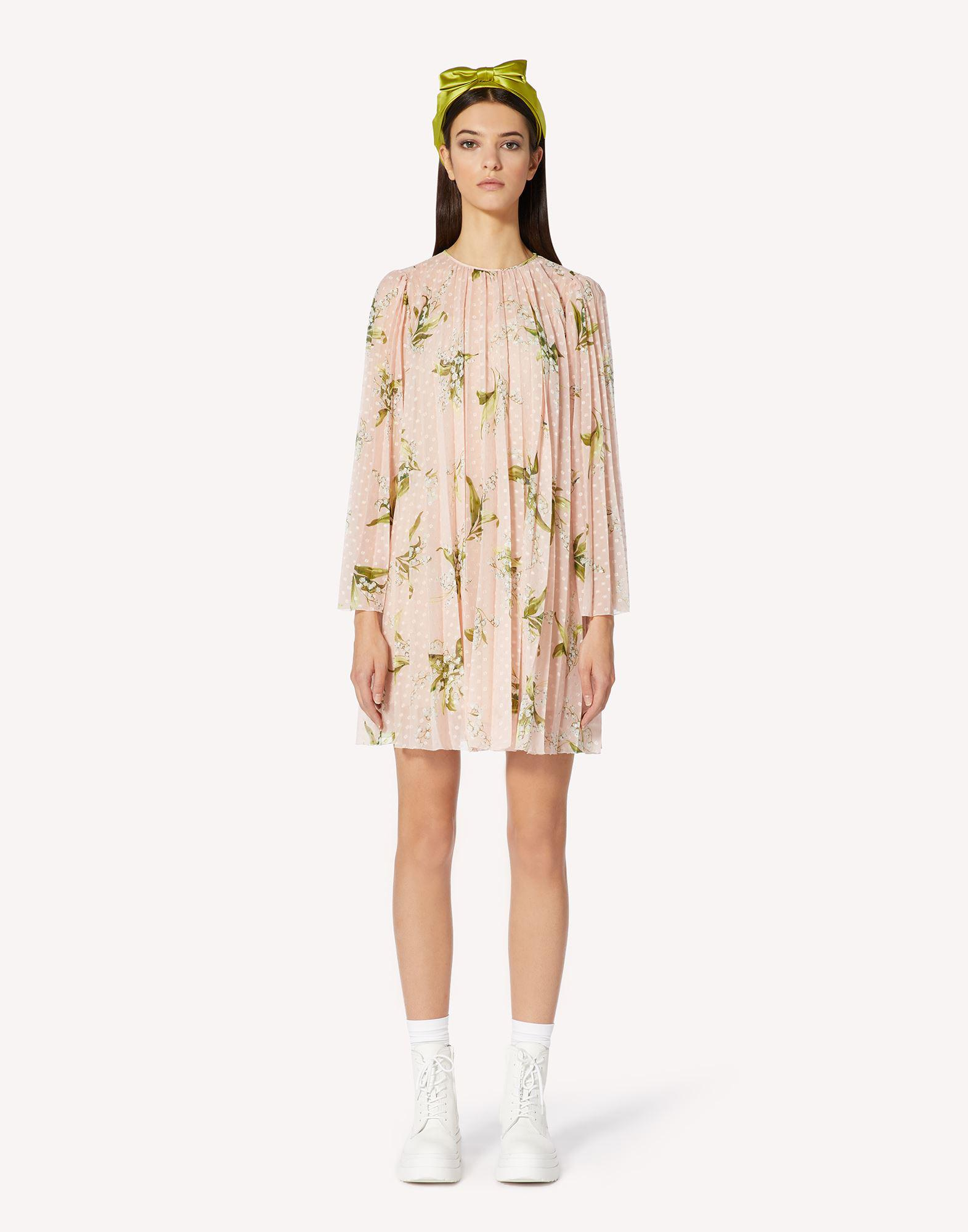MAY LILY PRINT PLUMETIS PLEATED DRESS