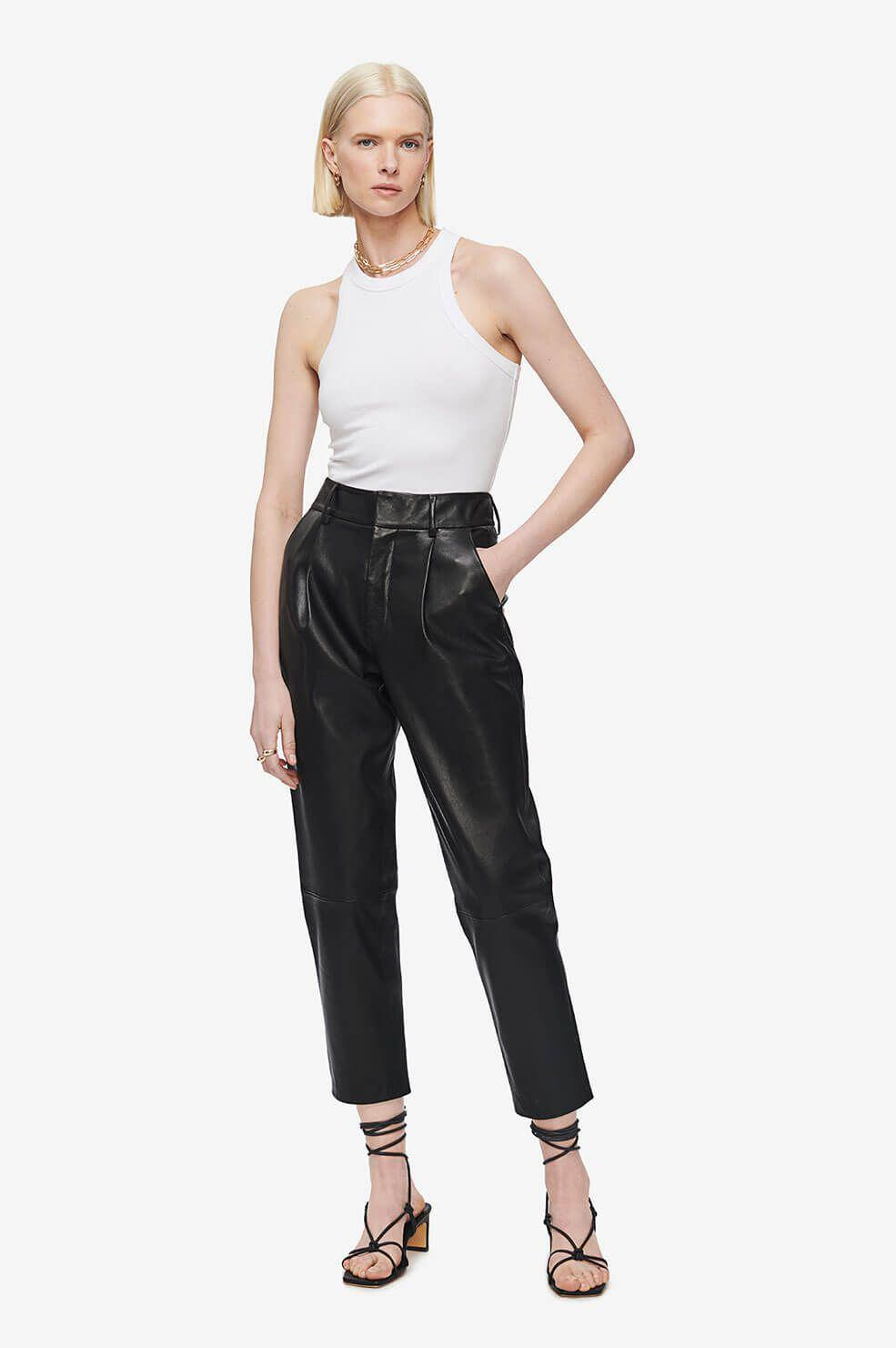 Becky Leather Trouser - Black