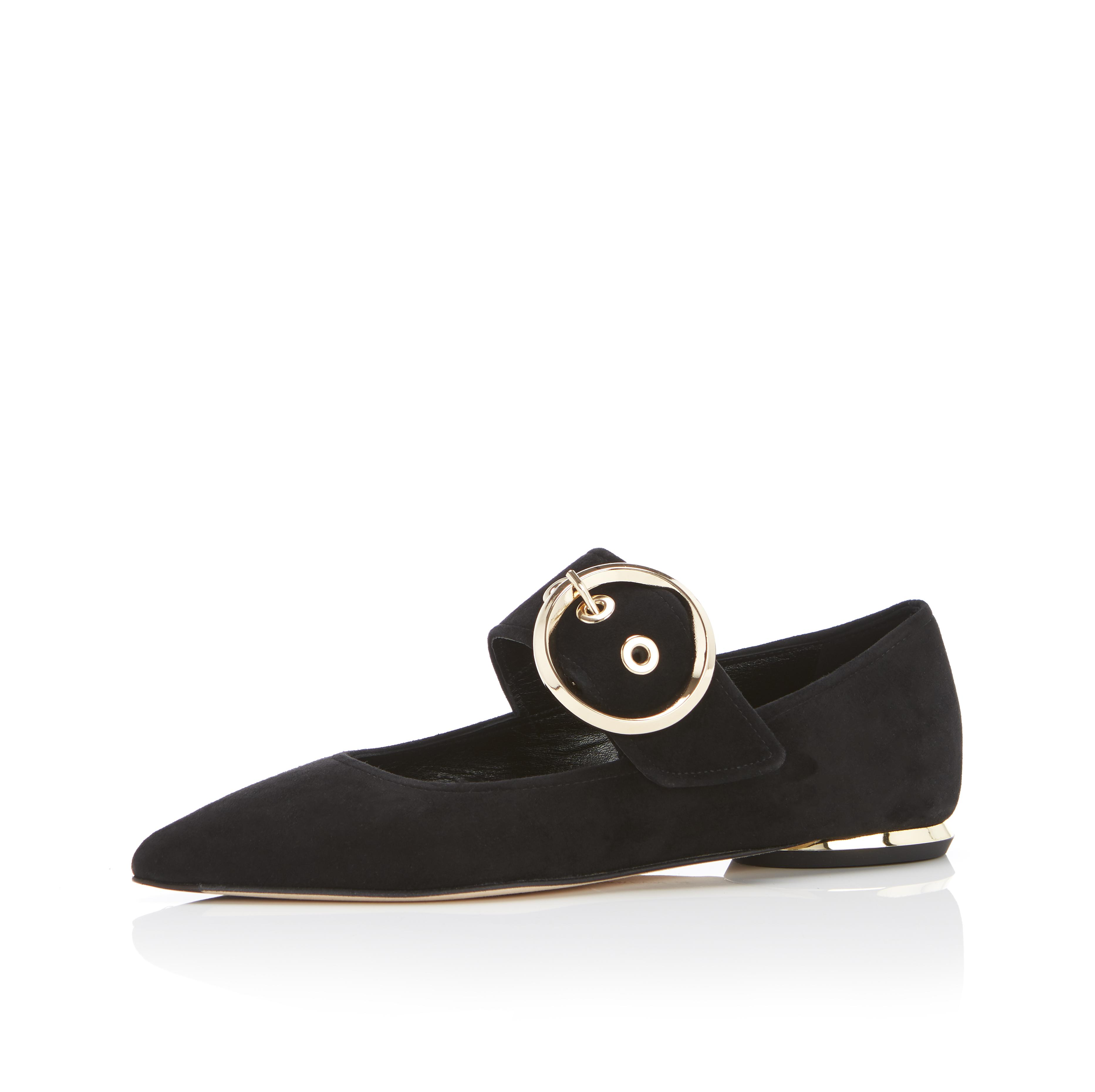 Nina   Suede Pointy Toe Mary Jane Flat With Buckle 1