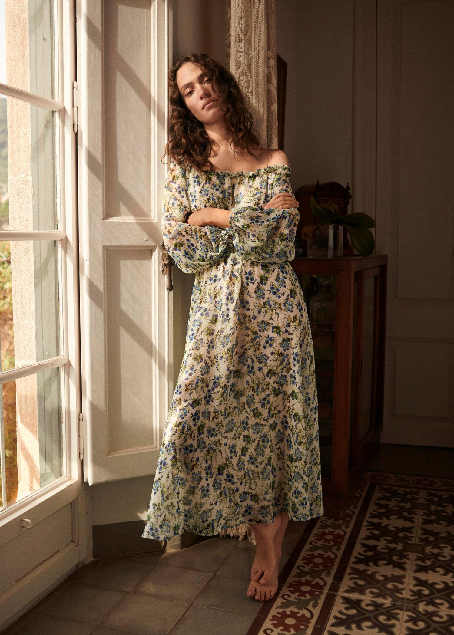 Printed dress with balloon sleeves 6