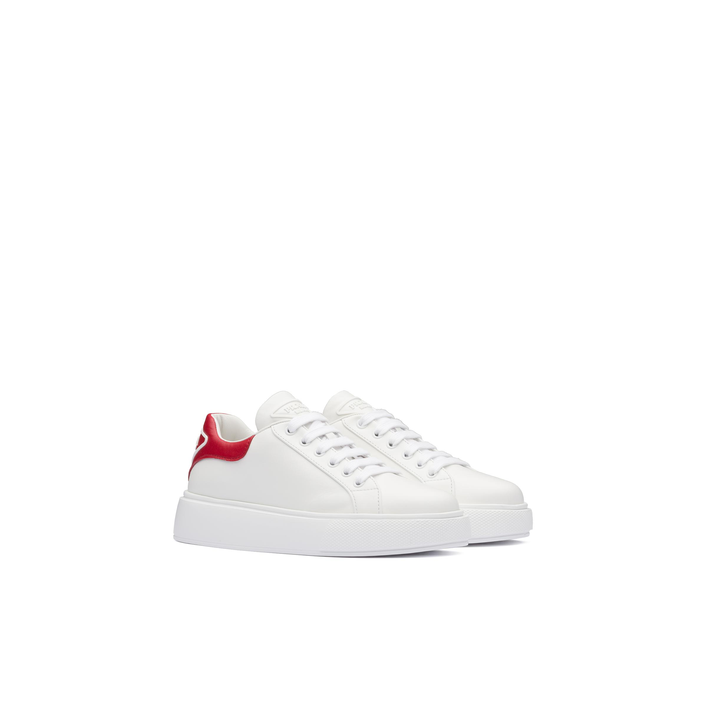 Leather Sneakers Women White/red