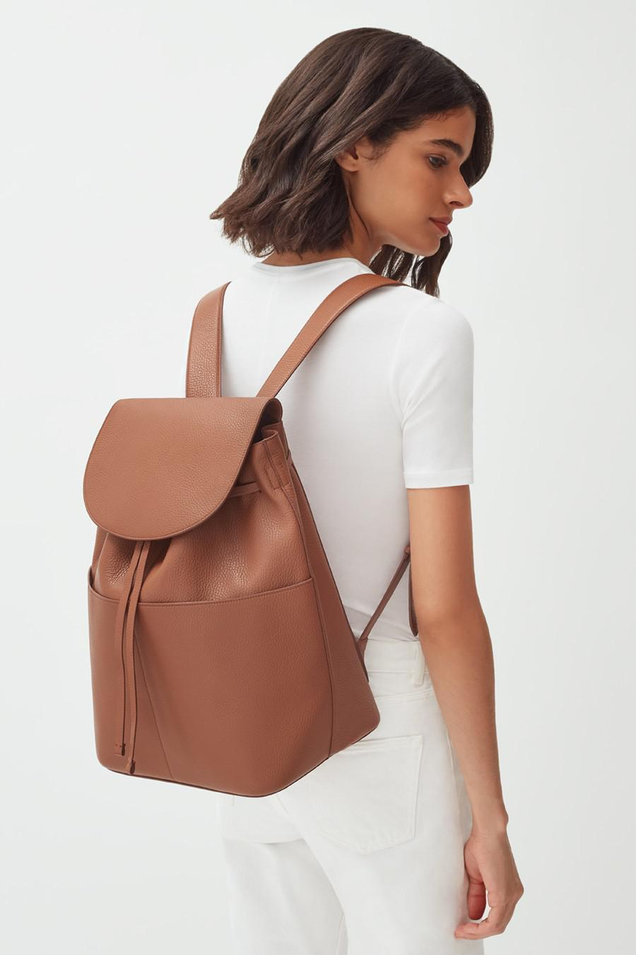 Women's Large Leather Backpack in Caramel | Pebbled Leather by Cuyana 5