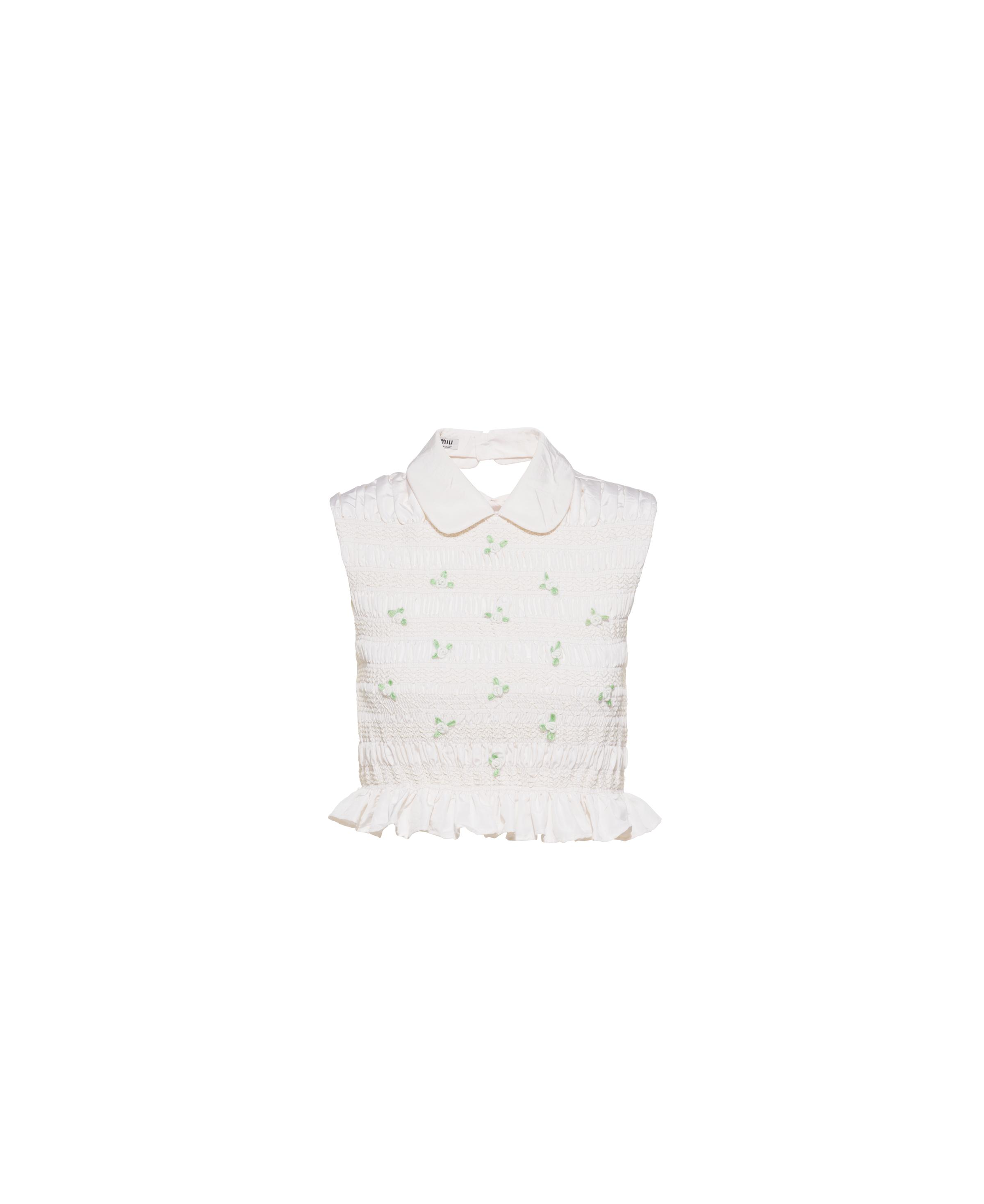 Embroidered Silk Faille Top Women White