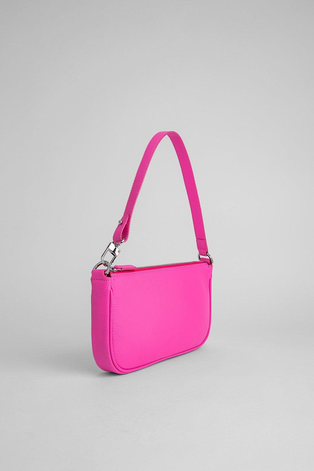 Rachel Hot Pink Grained Leather 1