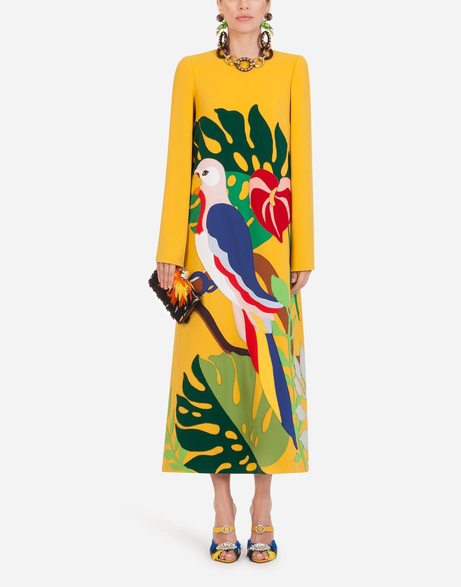 Long dress in cady with parrot patch