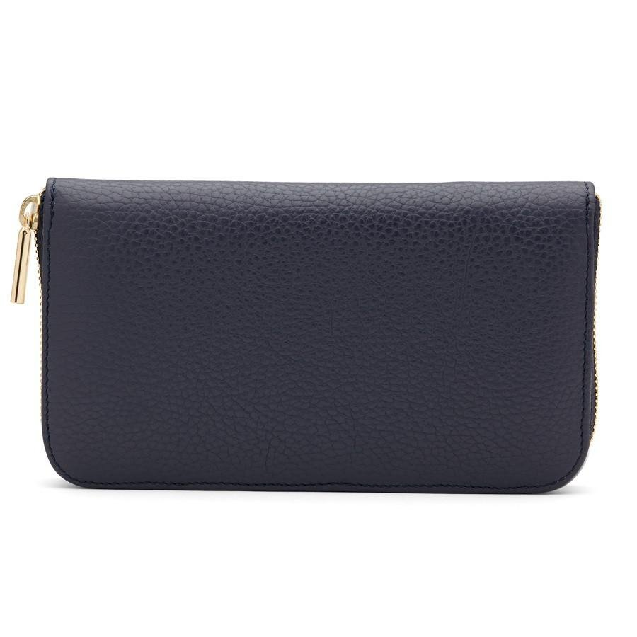 Women's Classic Zip Around Wallet in Navy/Stone | Pebbled Leather by Cuyana