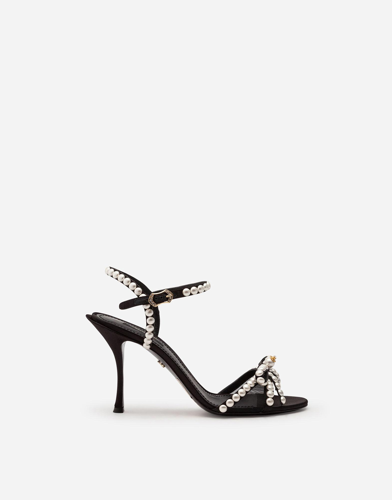Satin sandals with pearl application