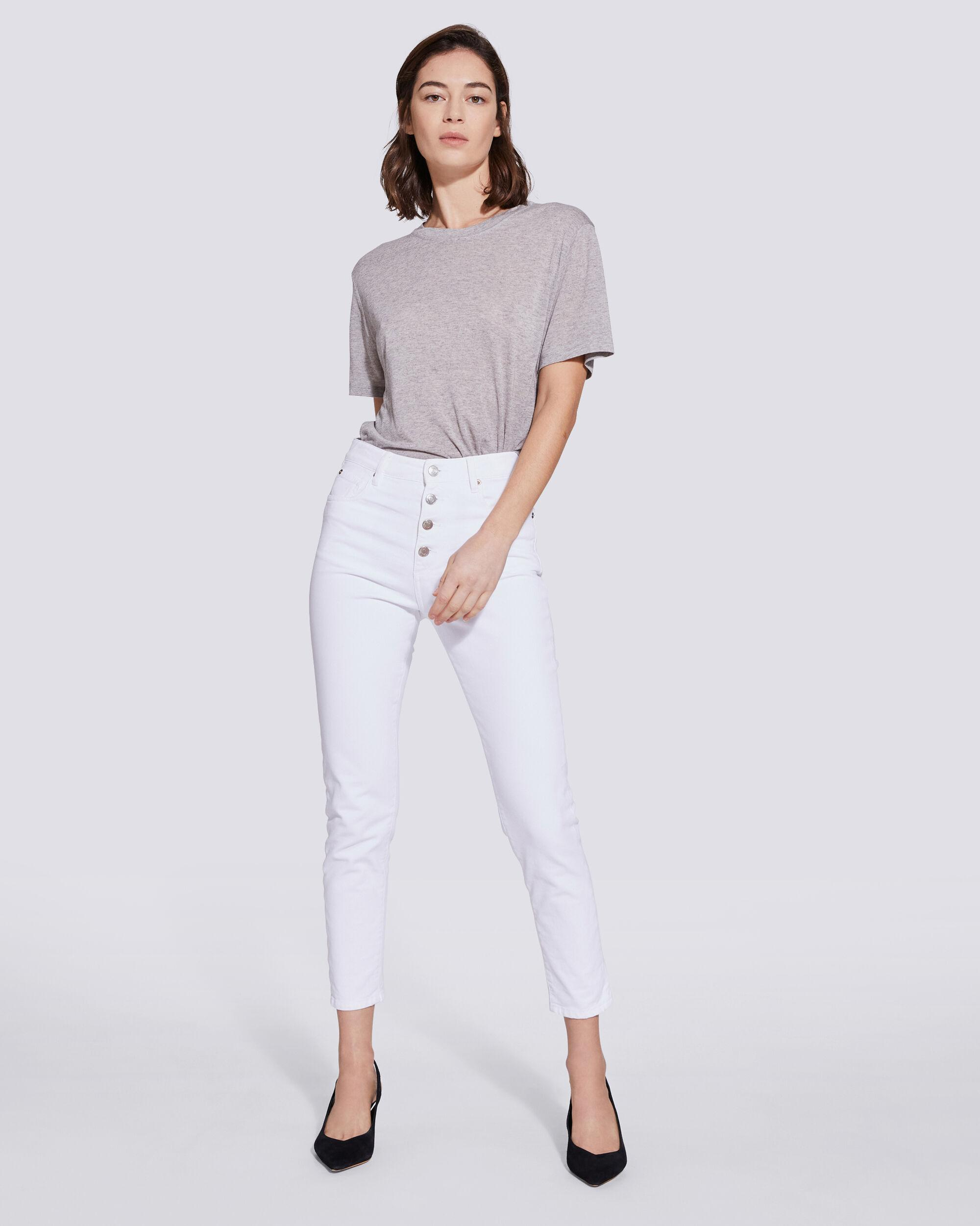 ESME HIGH RISE BUTTON FRONT CROPPED JEANS 0
