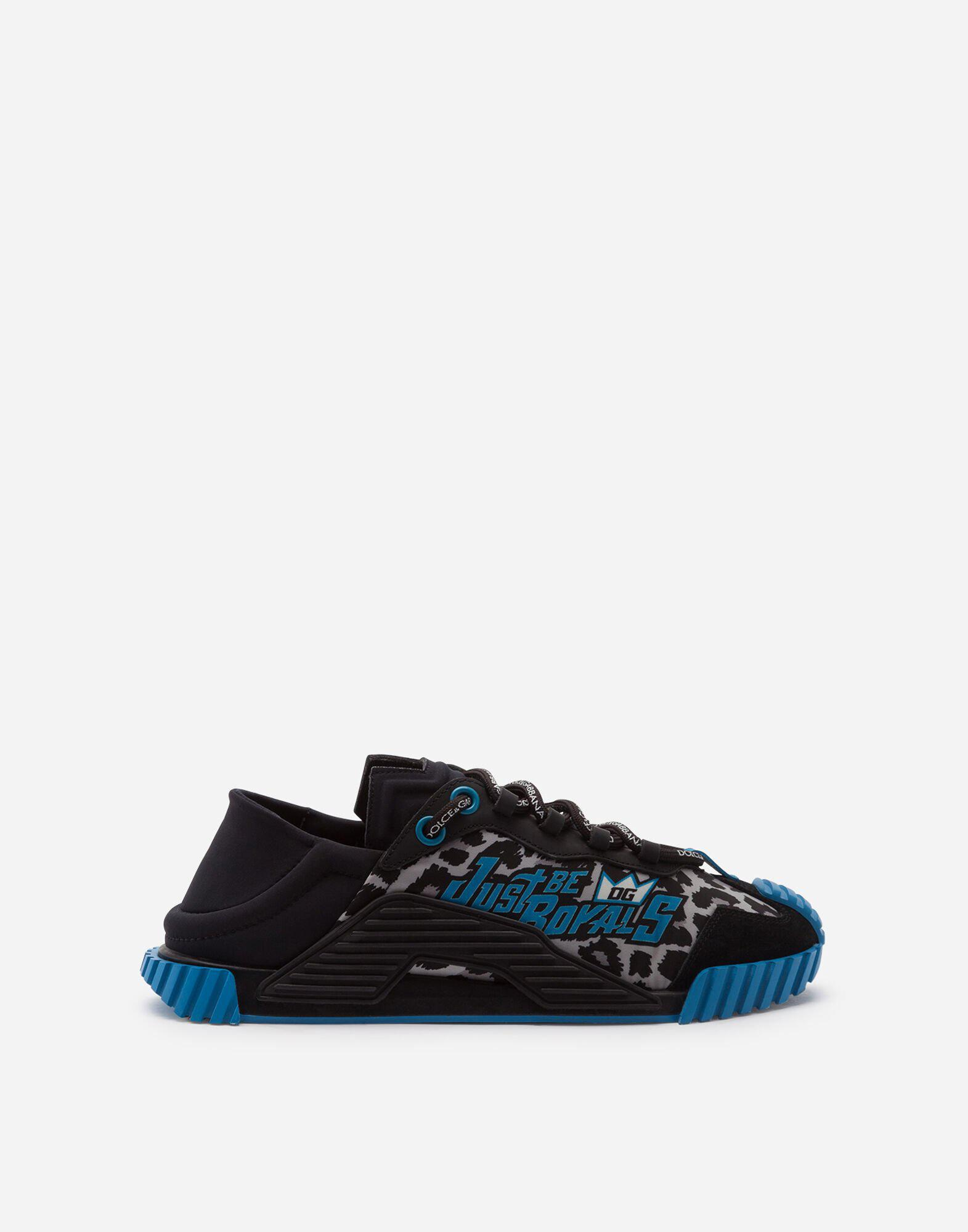 Mixed material NS1 slip-on sneakers with jungle print over a light blue base
