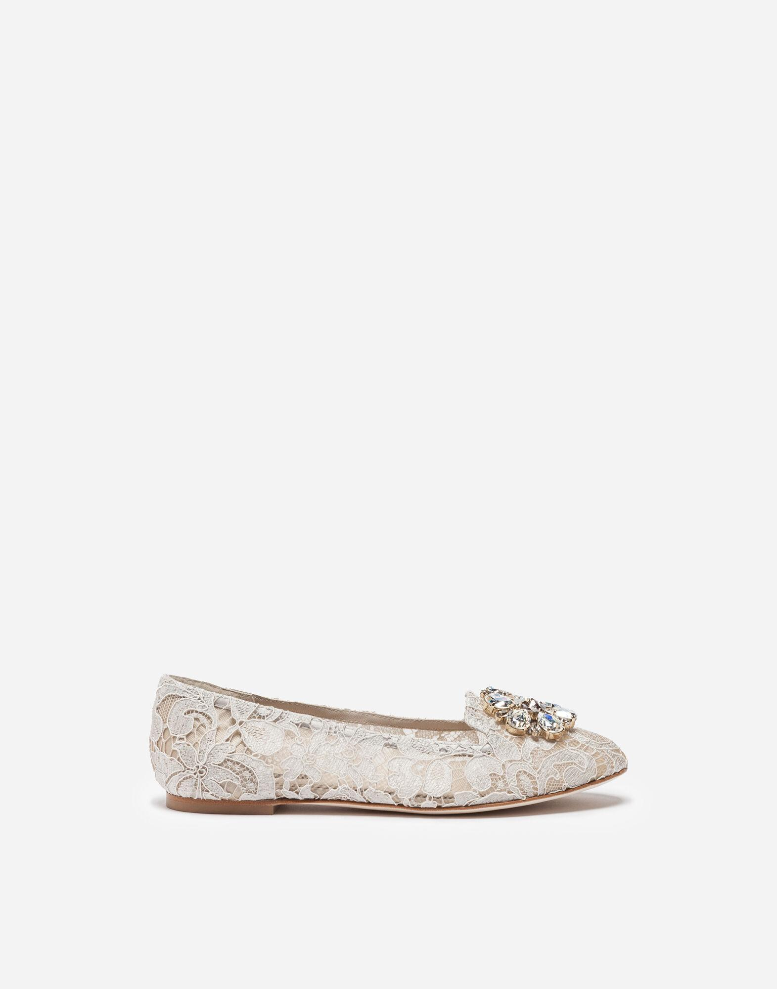 Slipper in Taormina lace with crystals 0