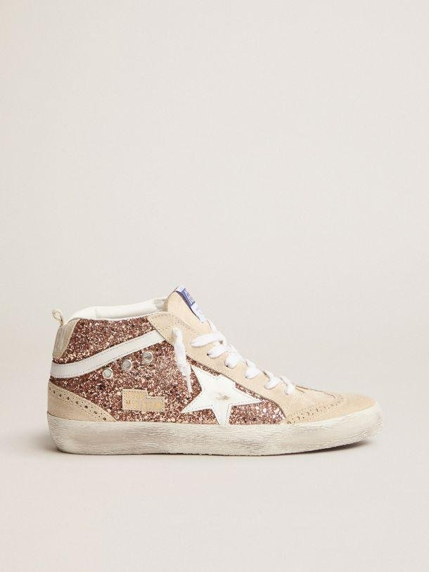 Mid Star sneakers with pink-gold glitter