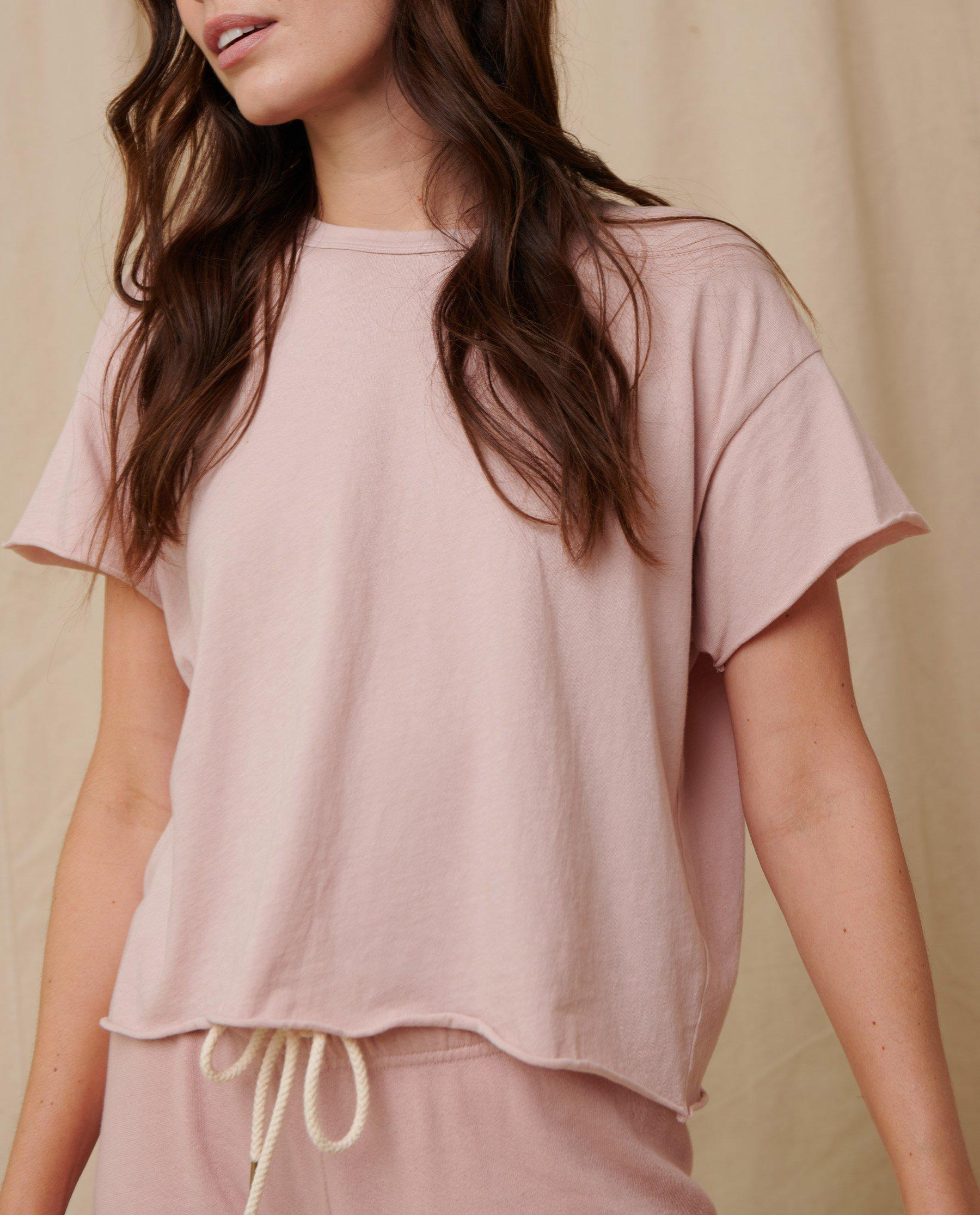 The Crop Tee. Solid -- Pink Frost