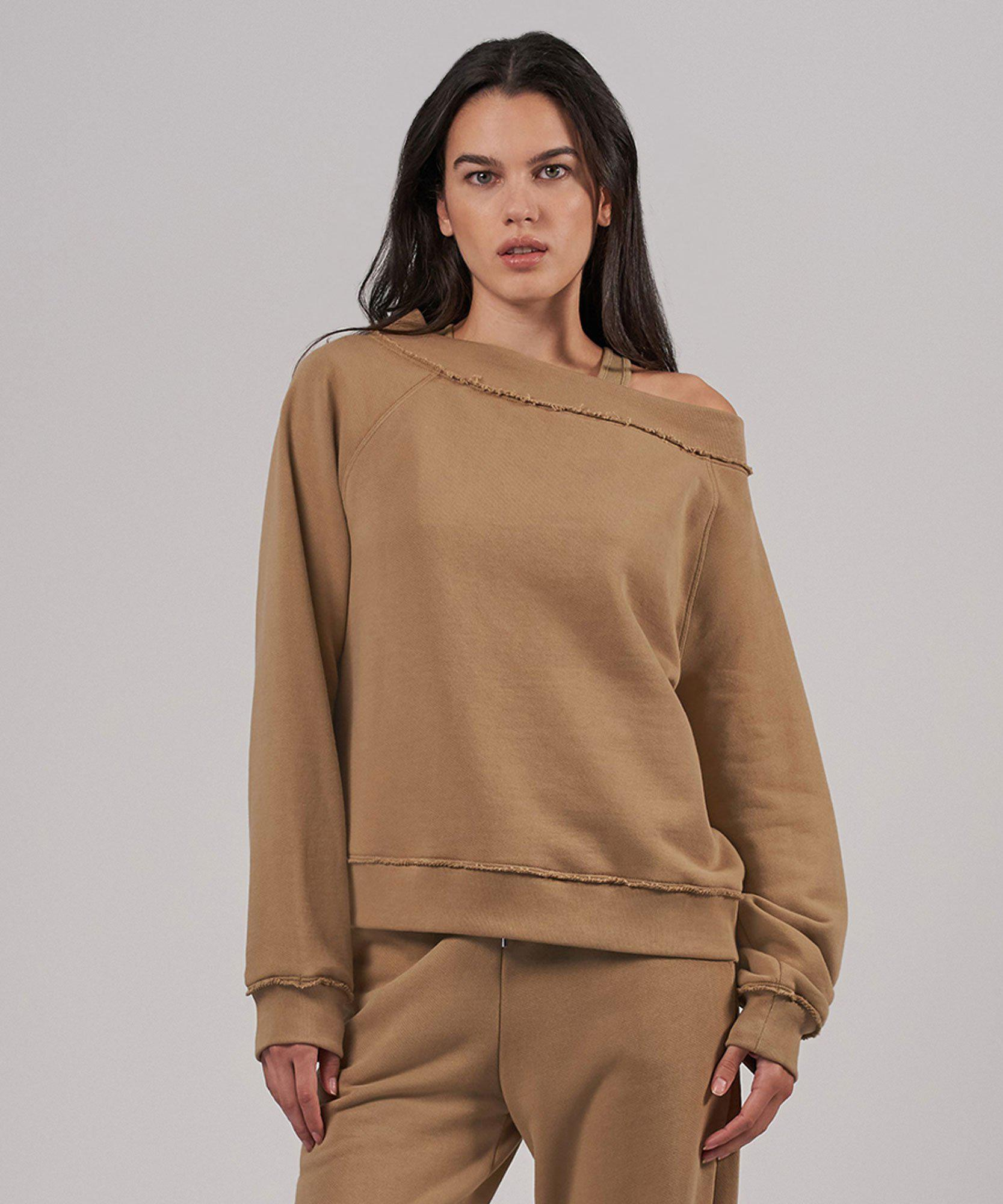 French Terry Off The Shoulder Sweatshirt - Dune