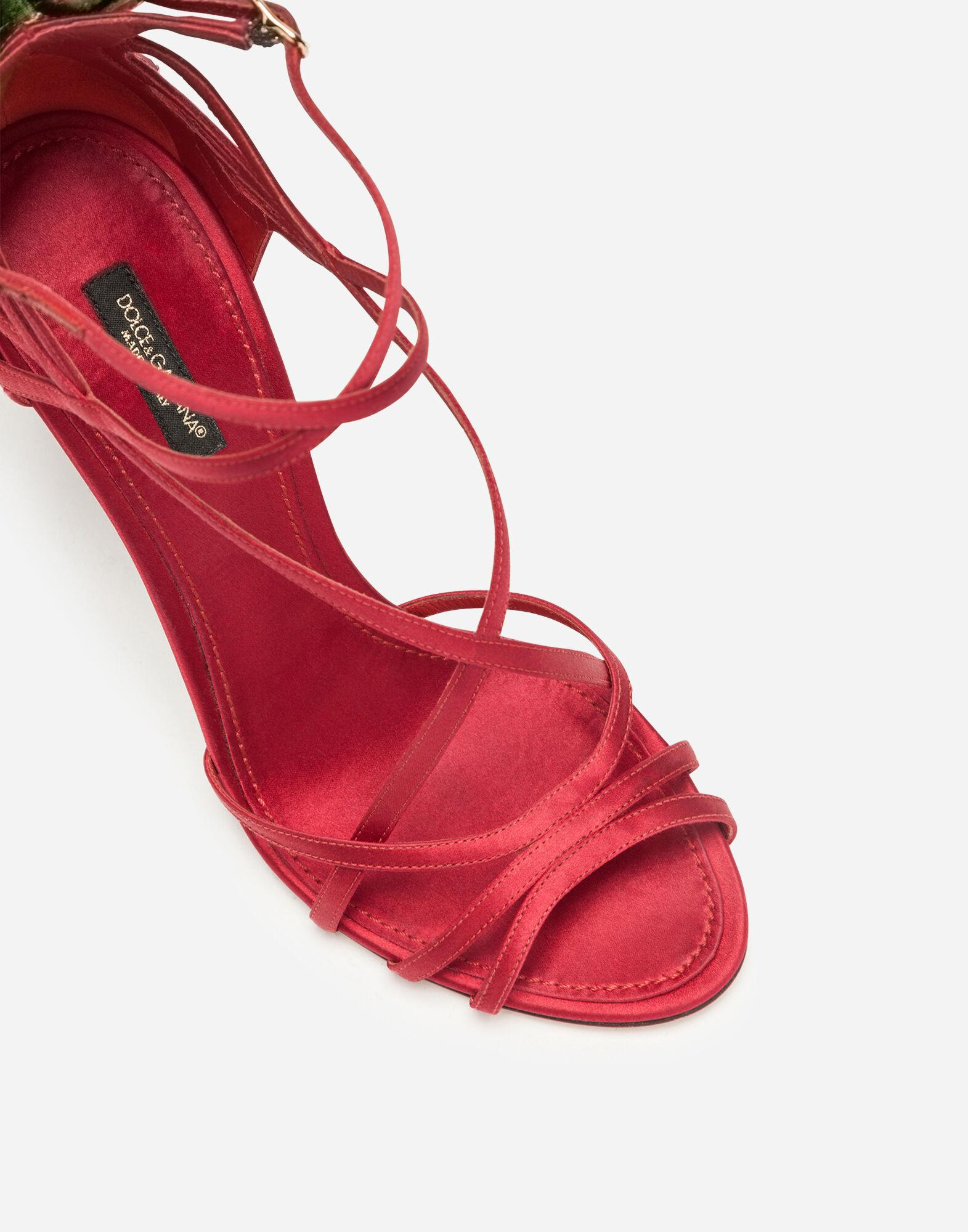 Satin sandals with embroidery