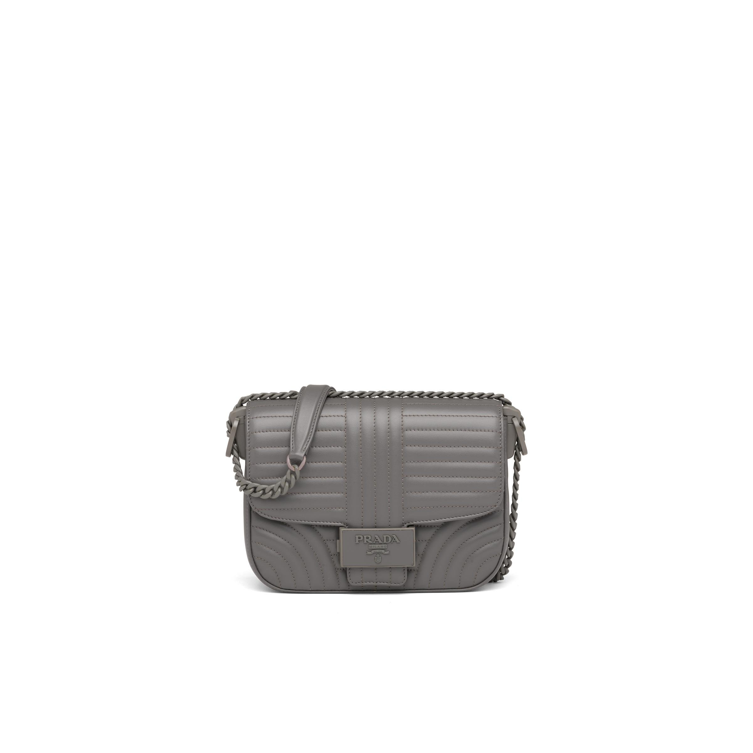 Diagramme Leather Shoulder Bag Women Marble Gray