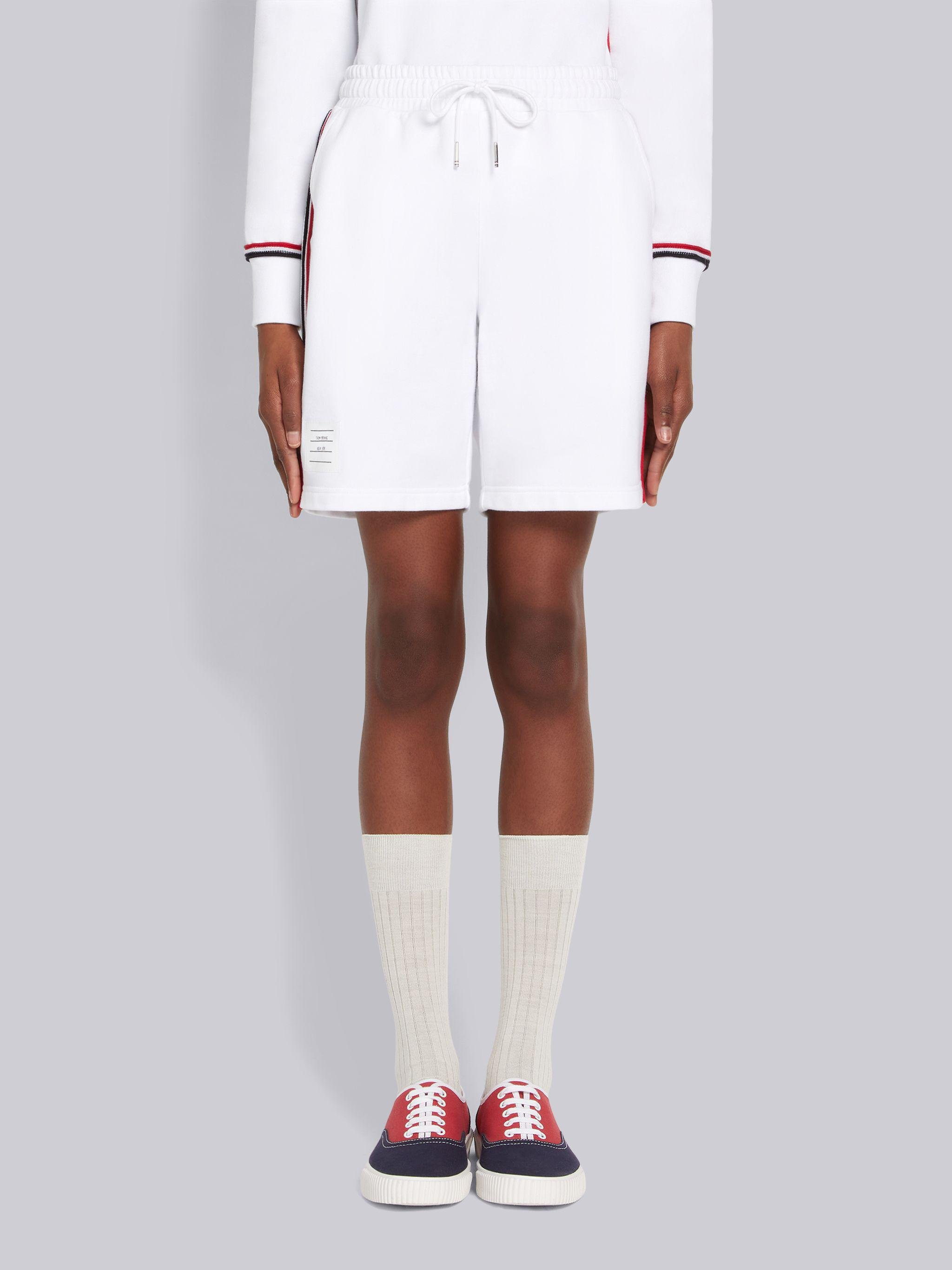 White Cotton Loopback Contrast Stripe Framing Mid-thigh Shorts