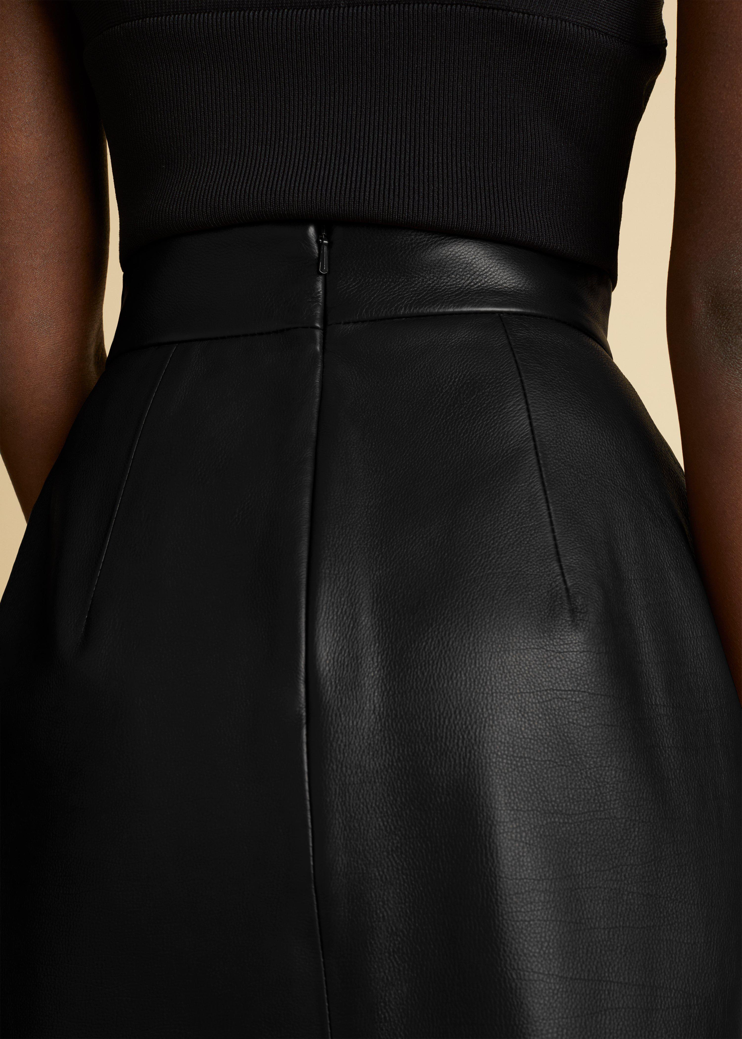 The Eiko Skirt in Black Leather 3