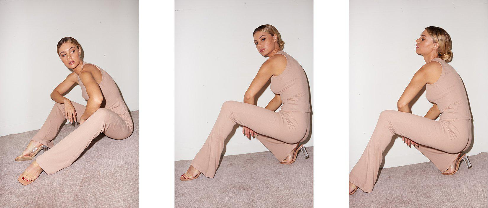 Ribbed Charlotte Pant - Nude 6