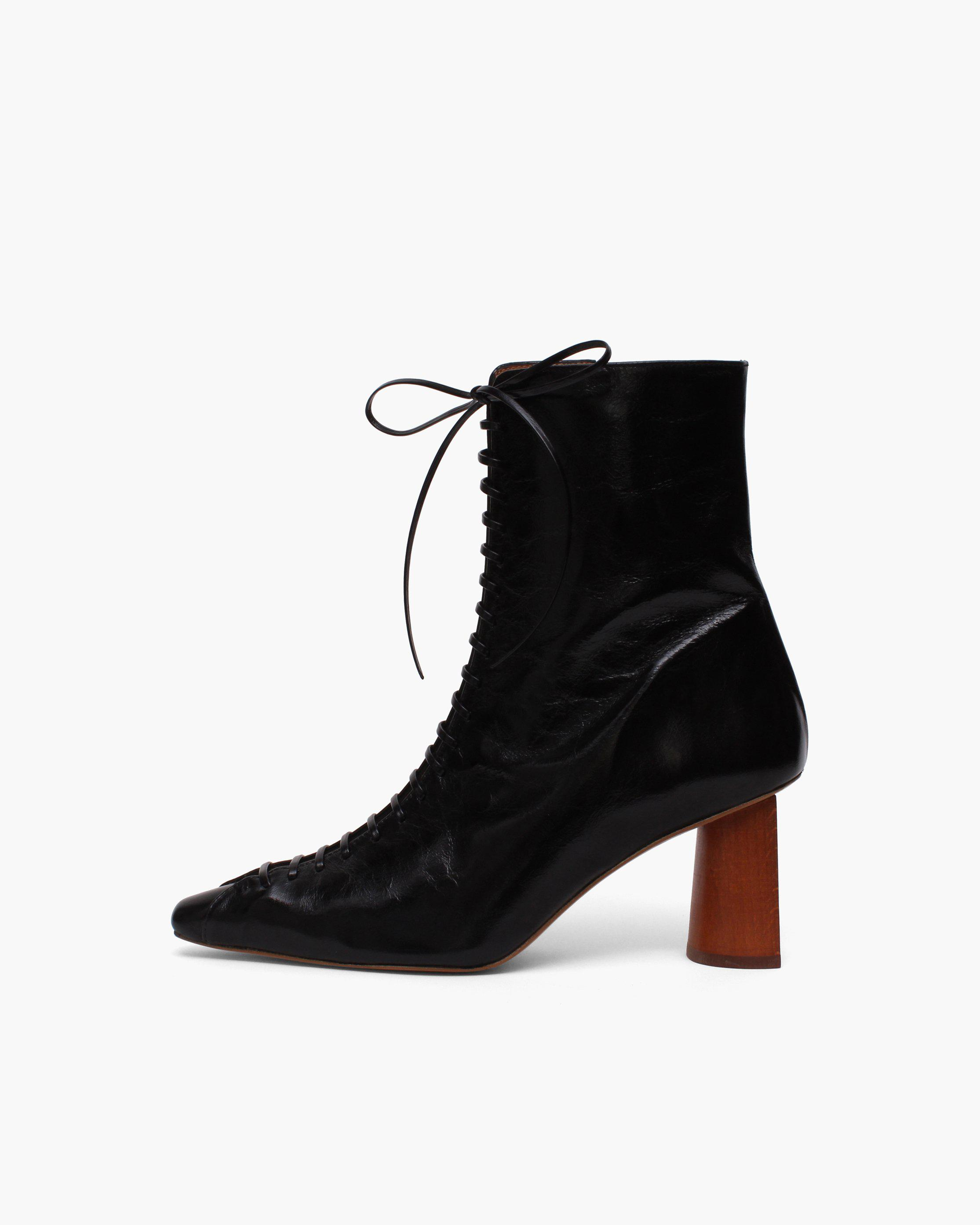 Peyton Boots Leather Patent Crinkle Black