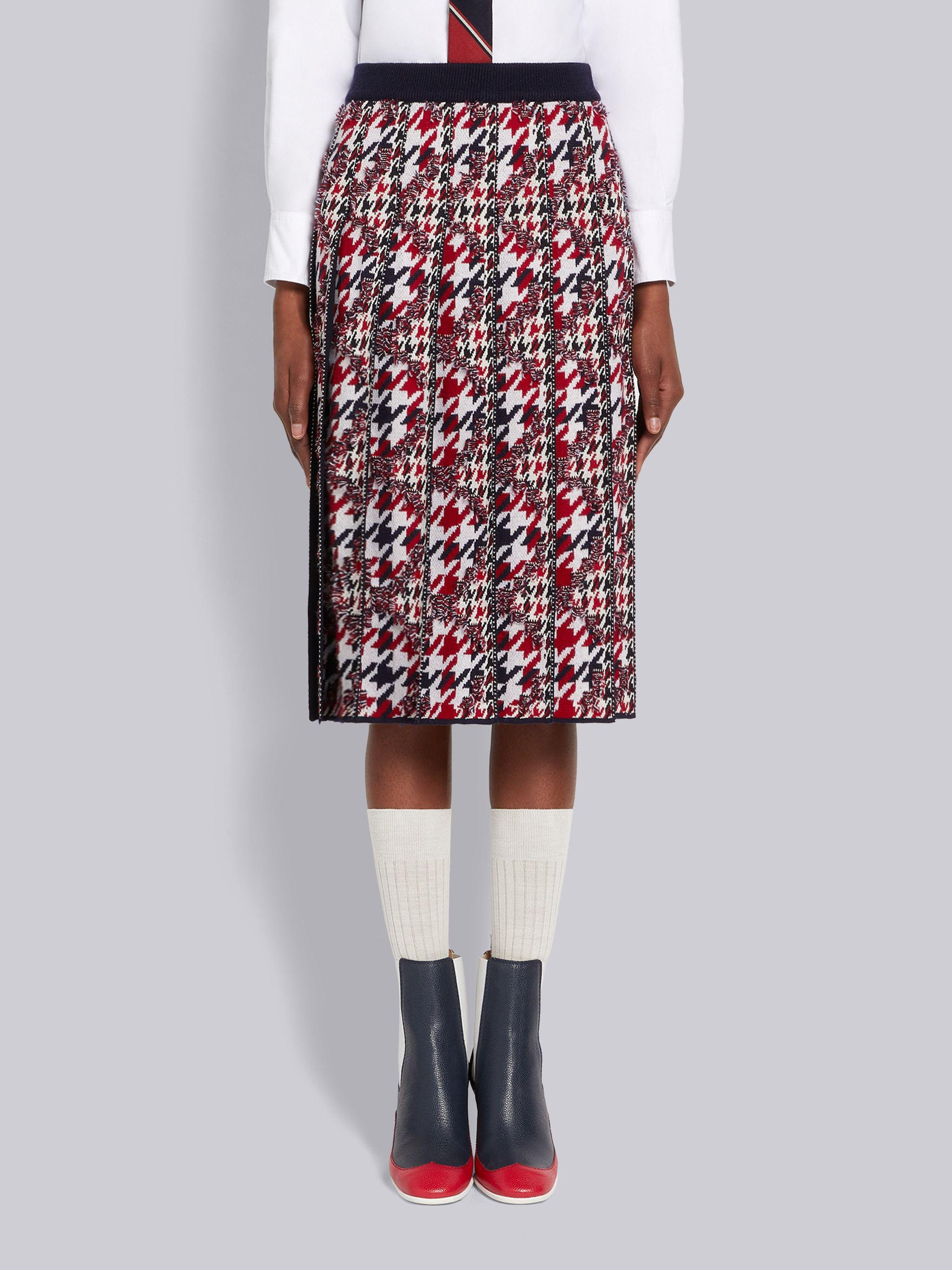Multicolor Frayed Houndstooth Wool Cotton Jacquard Pleated Below-the-Knee Skirt