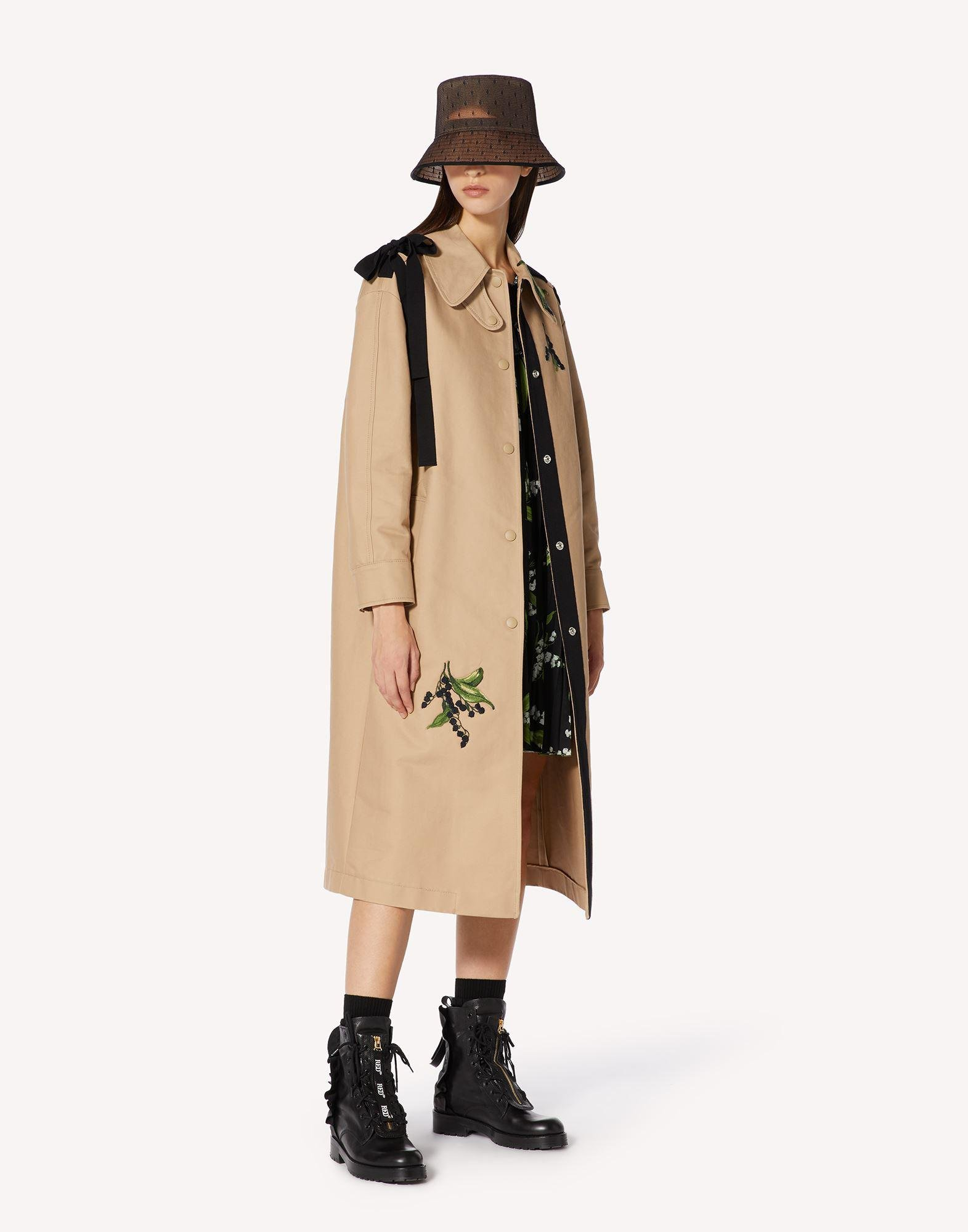 MAY LILY EMBROIDERED TRENCH COAT WITH BOW DETAIL 2